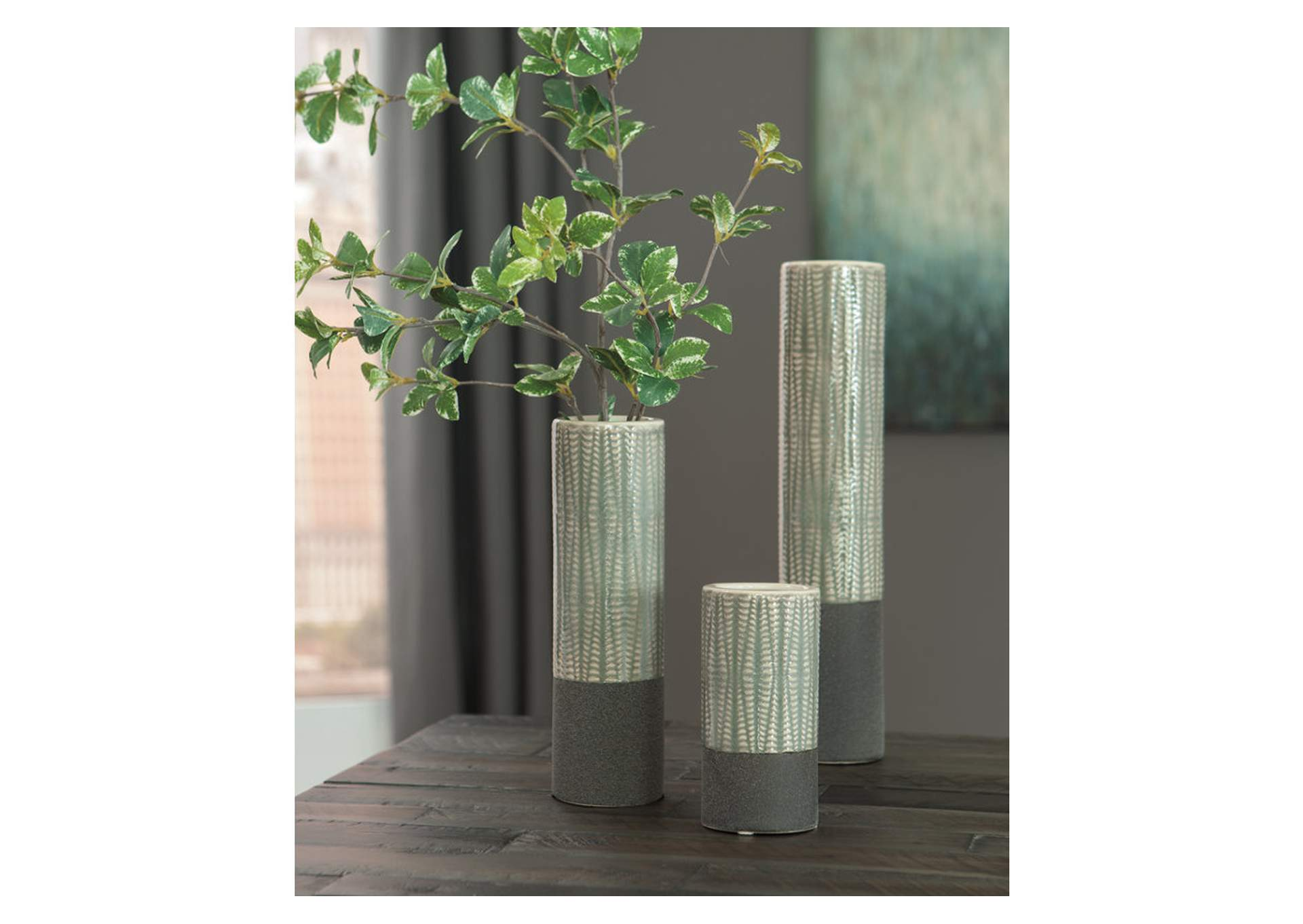Elwood Gray Vase (Set of 3),Signature Design By Ashley