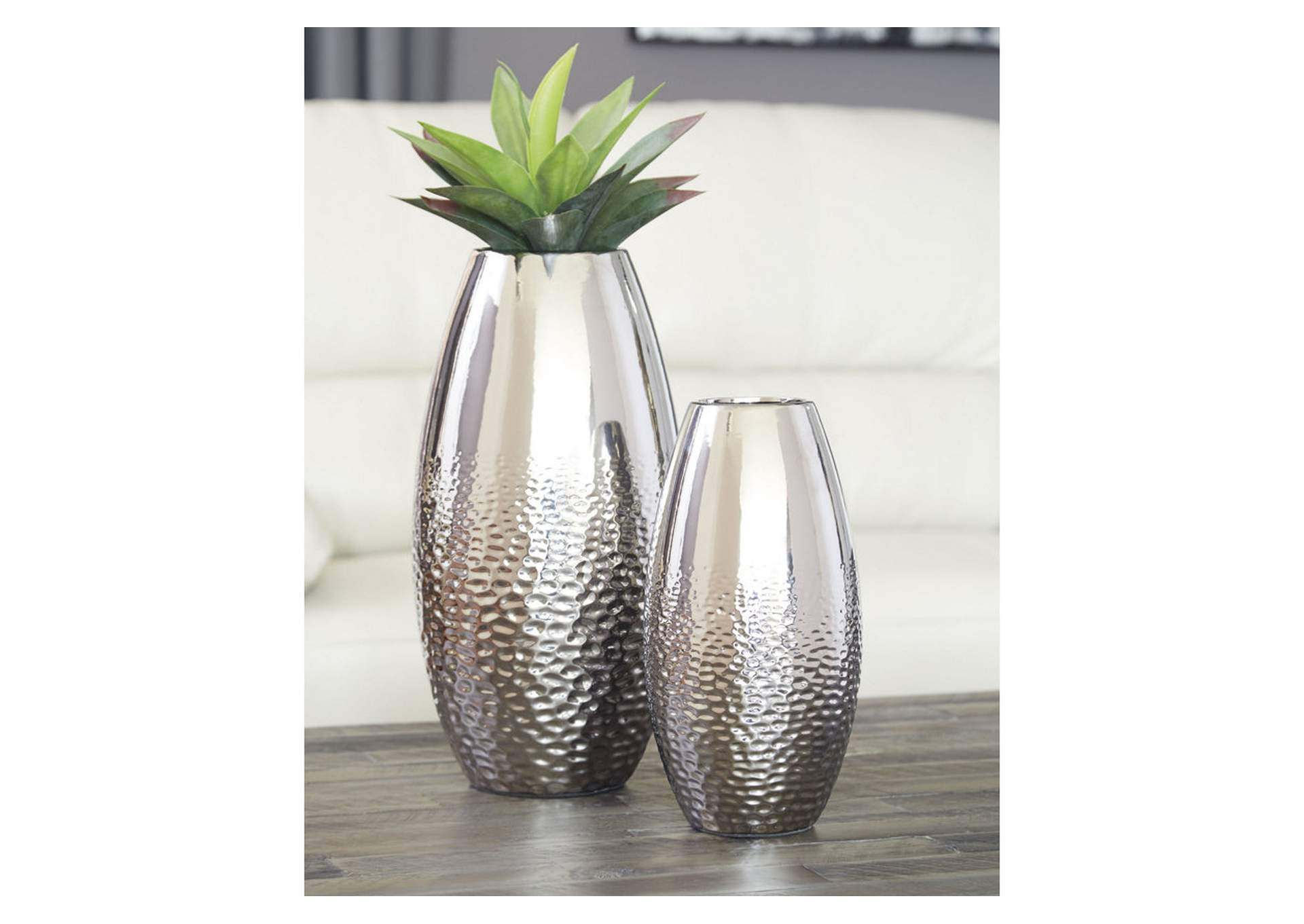 Dinesh Silver Vase (Set of 2),Signature Design By Ashley