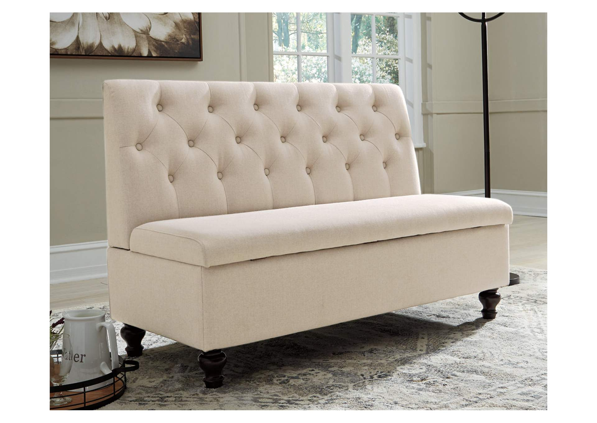 Gwendale Light Beige Storage Bench,Signature Design By Ashley