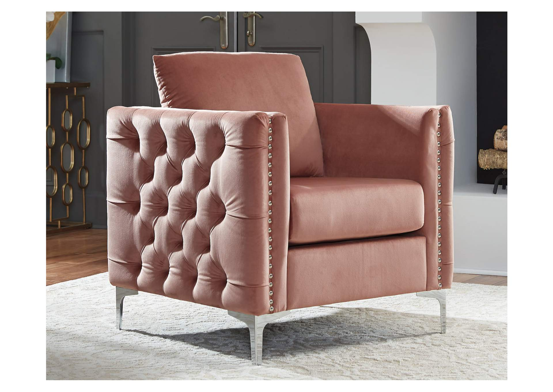 Lizmont Blush Pink Accent Chair,Direct To Consumer Express