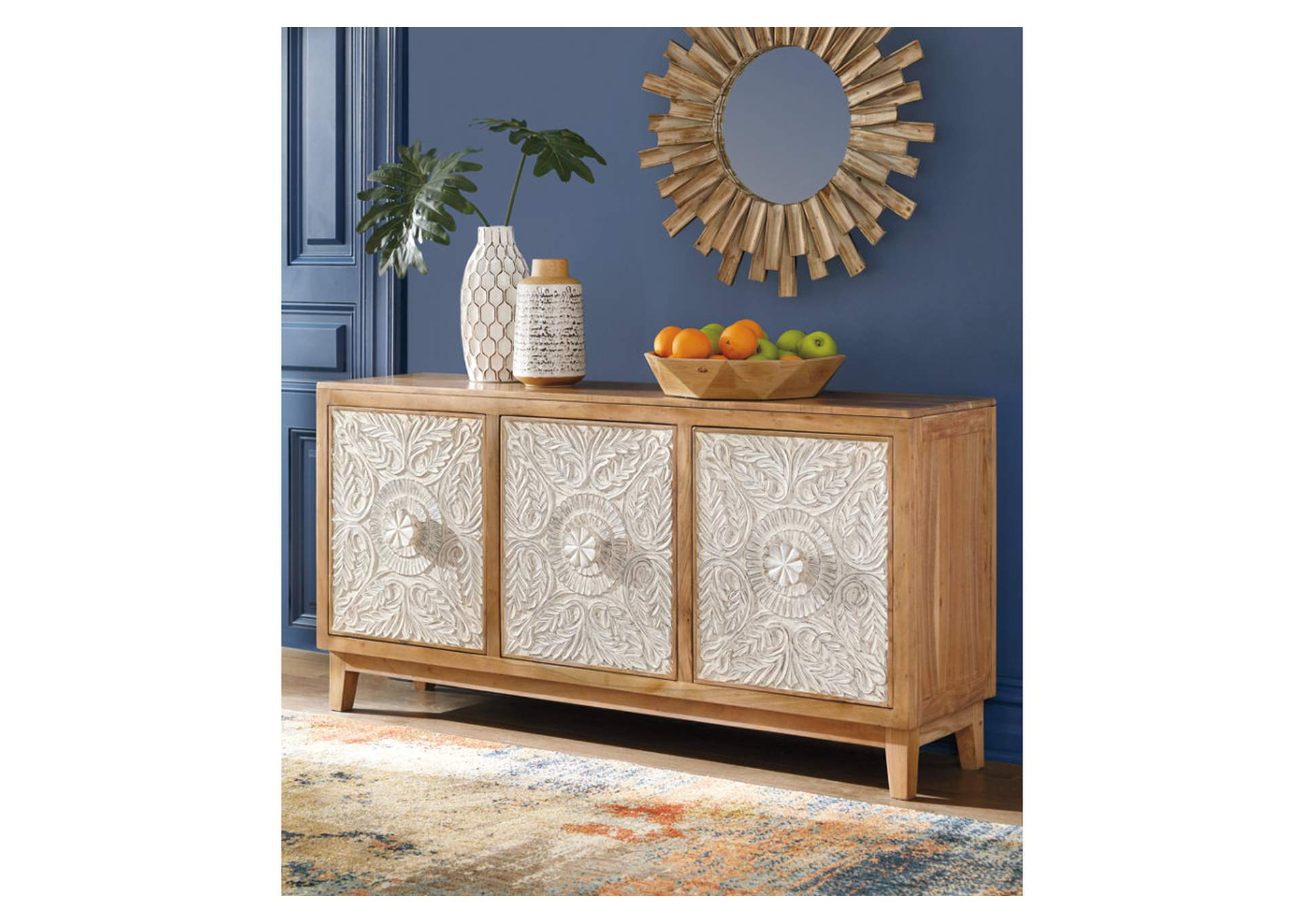 Lorenburg Antique White/Brown Accent Cabinet,Signature Design By Ashley