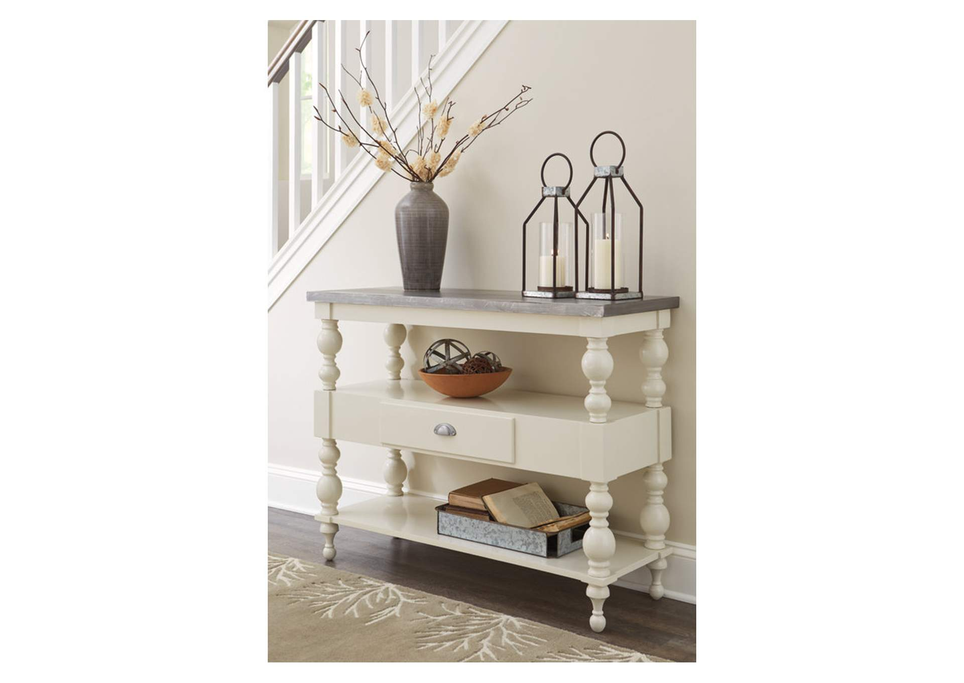 Fossil Ridge Antique White Console Sofa Table,Signature Design By Ashley