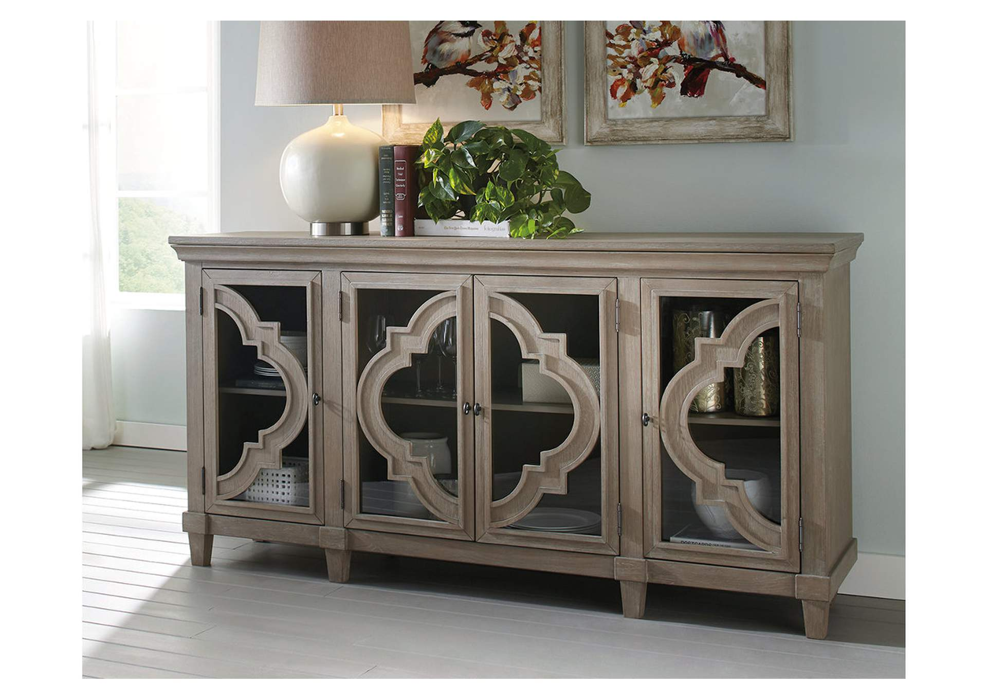 Fossil Ridge Gray Door Accent Cabinet,Signature Design By Ashley