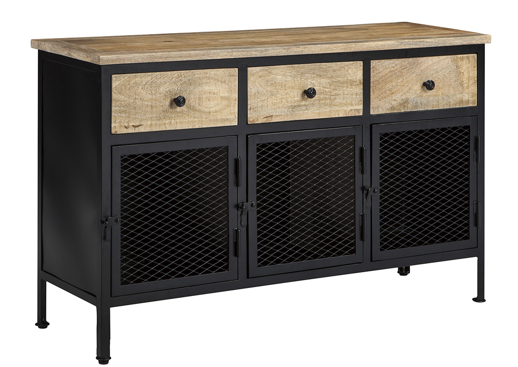 Ponder Ridge Black/Natural Accent Cabinet,Signature Design By Ashley