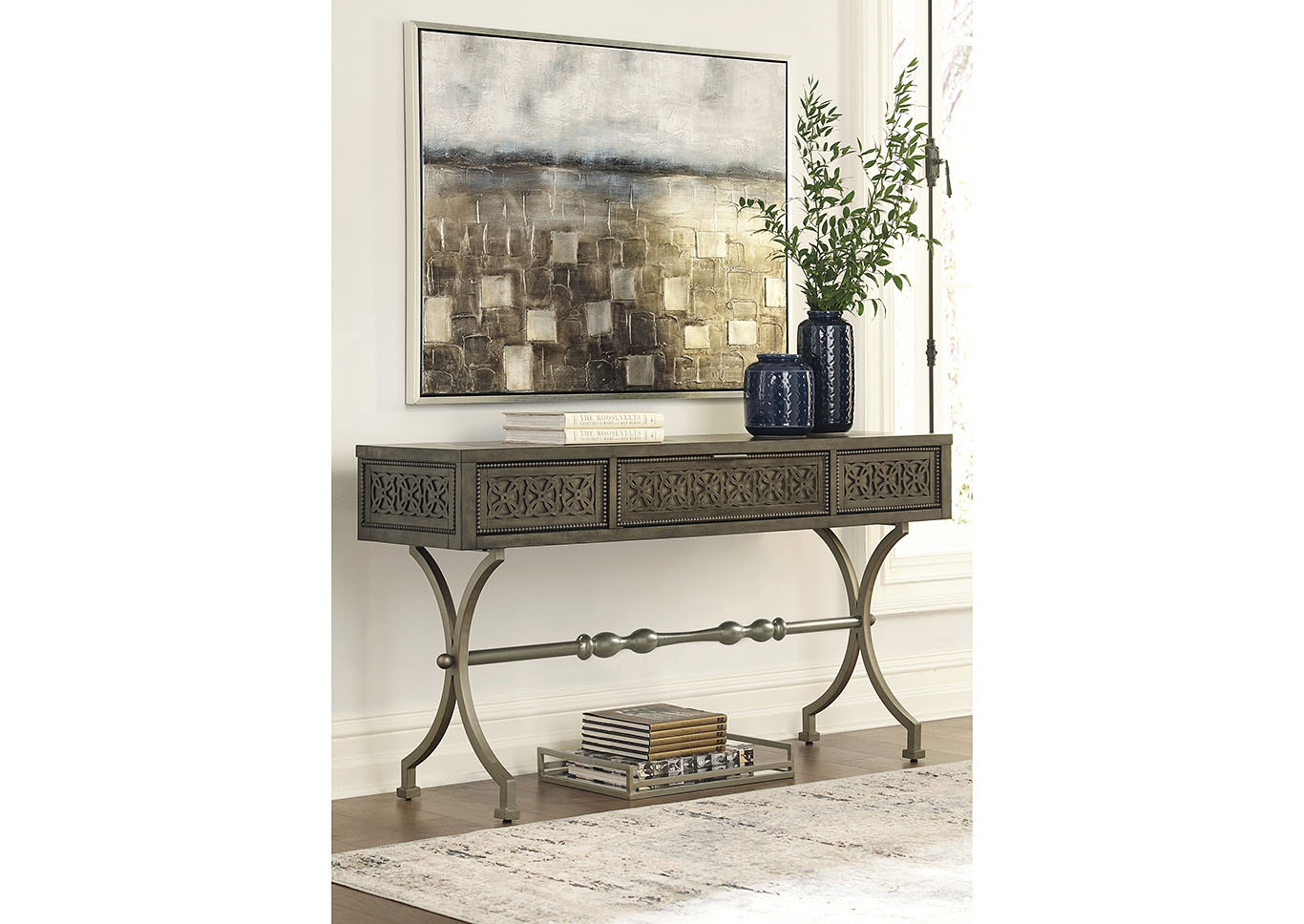 Quinnland Antique Black Console Sofa Table,Signature Design By Ashley