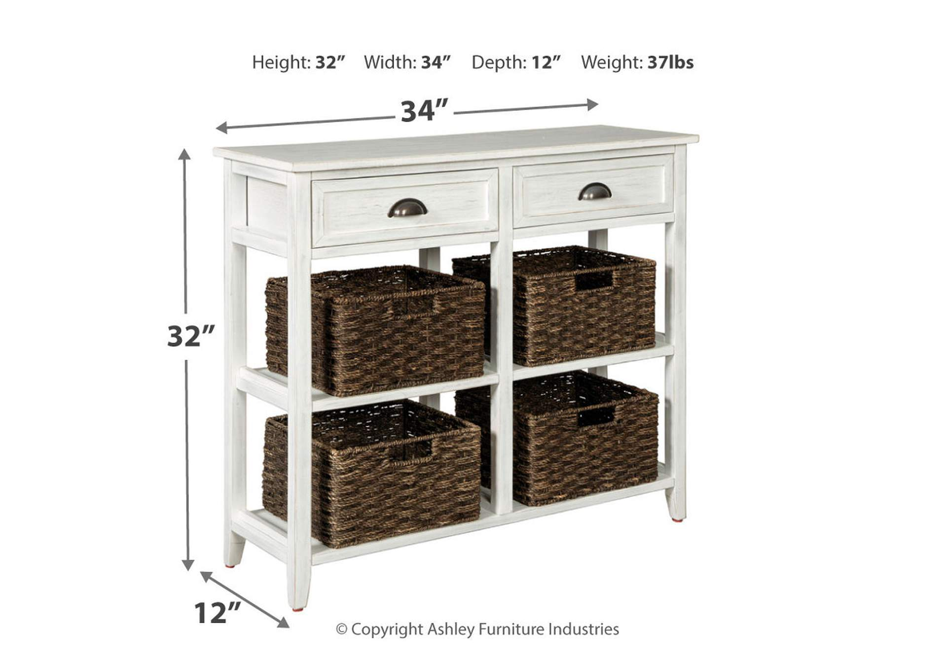 Oslember White Console Sofa Table,Direct To Consumer Express