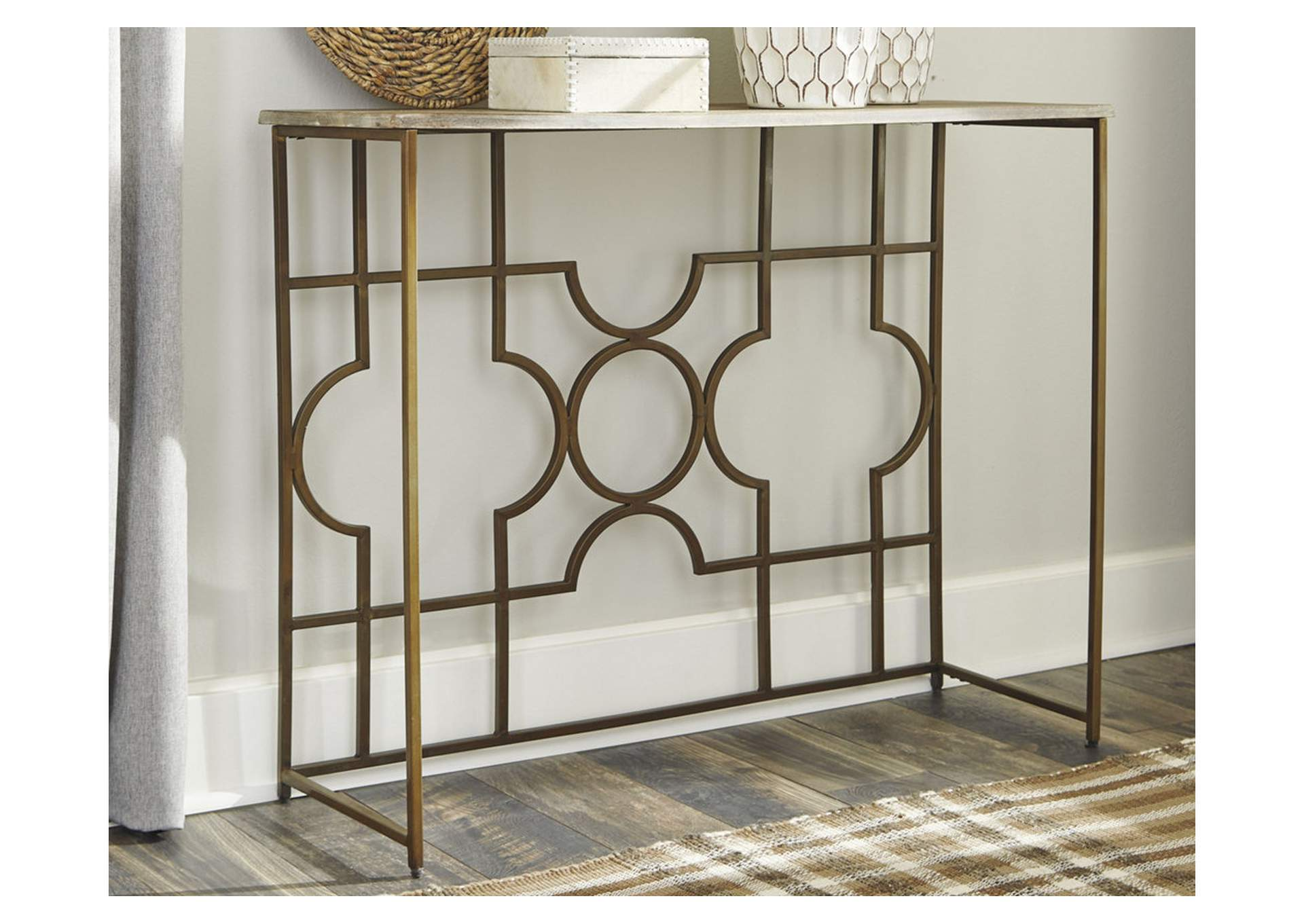 Roelsen Gold Finish Console Sofa Table,Signature Design By Ashley