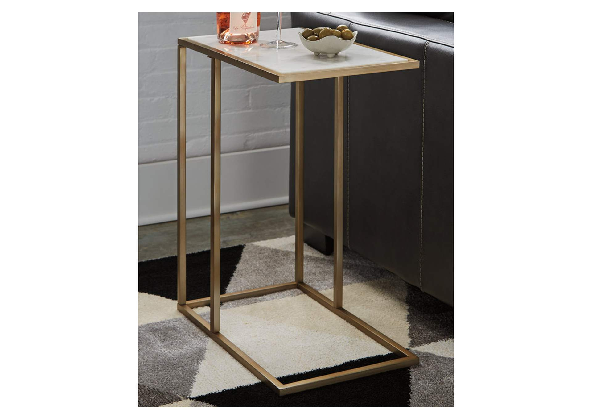 Lanport Champagne/White Accent Table,Signature Design By Ashley