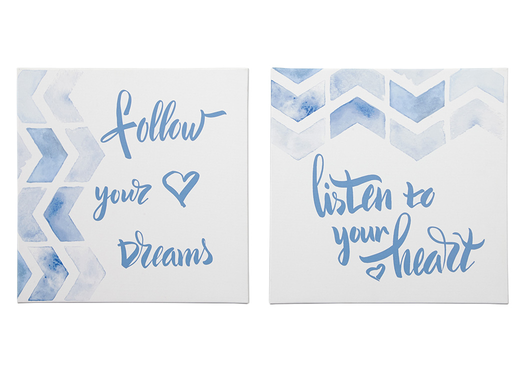 Ellis Teal/White Wall Art Set (Set of 2),Signature Design By Ashley