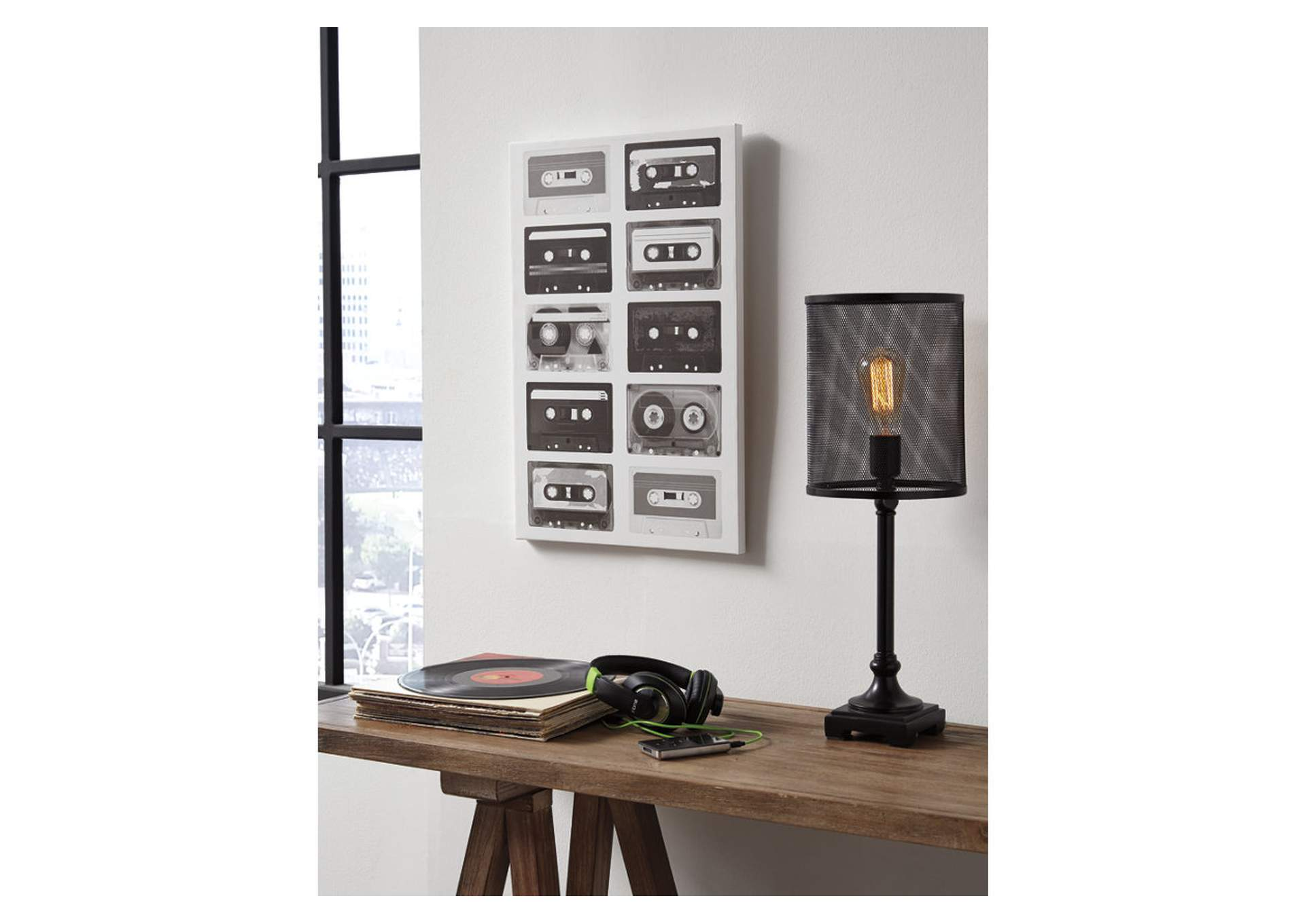 Peers Black/White Music Cassette Wall Art,Signature Design By Ashley
