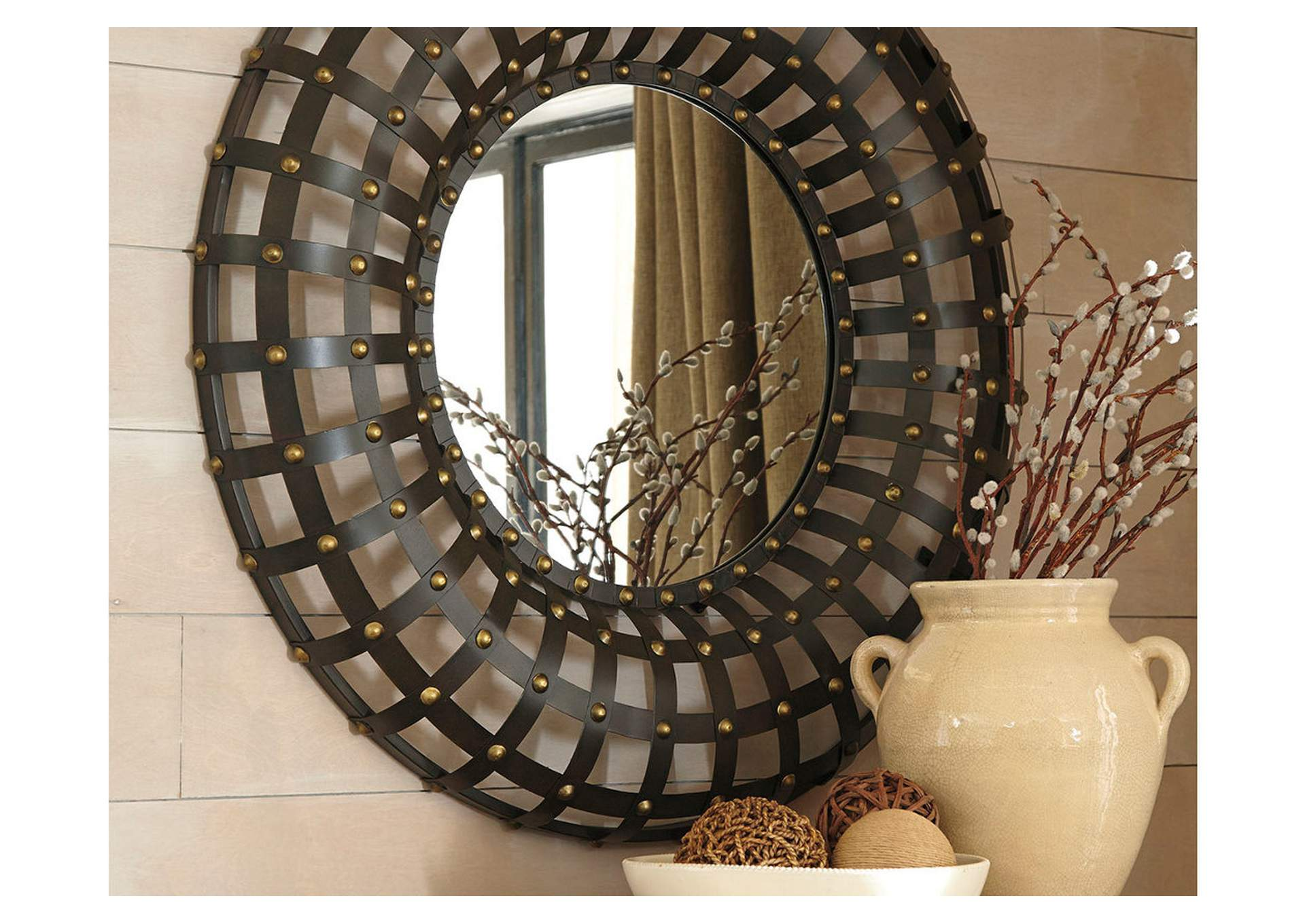 Ogier Brown/Gold Finish Accent Mirror,Signature Design By Ashley