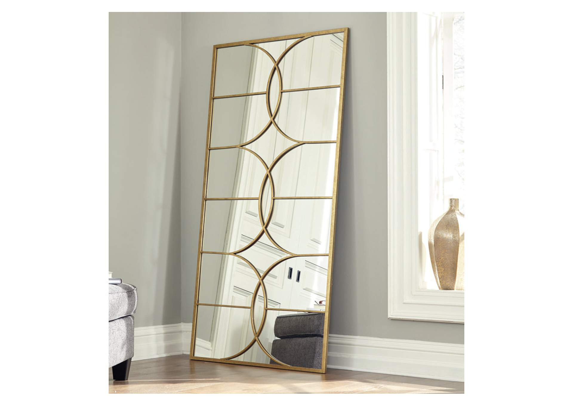 Eamon Antique Gold Finish Accent Mirror,Signature Design By Ashley