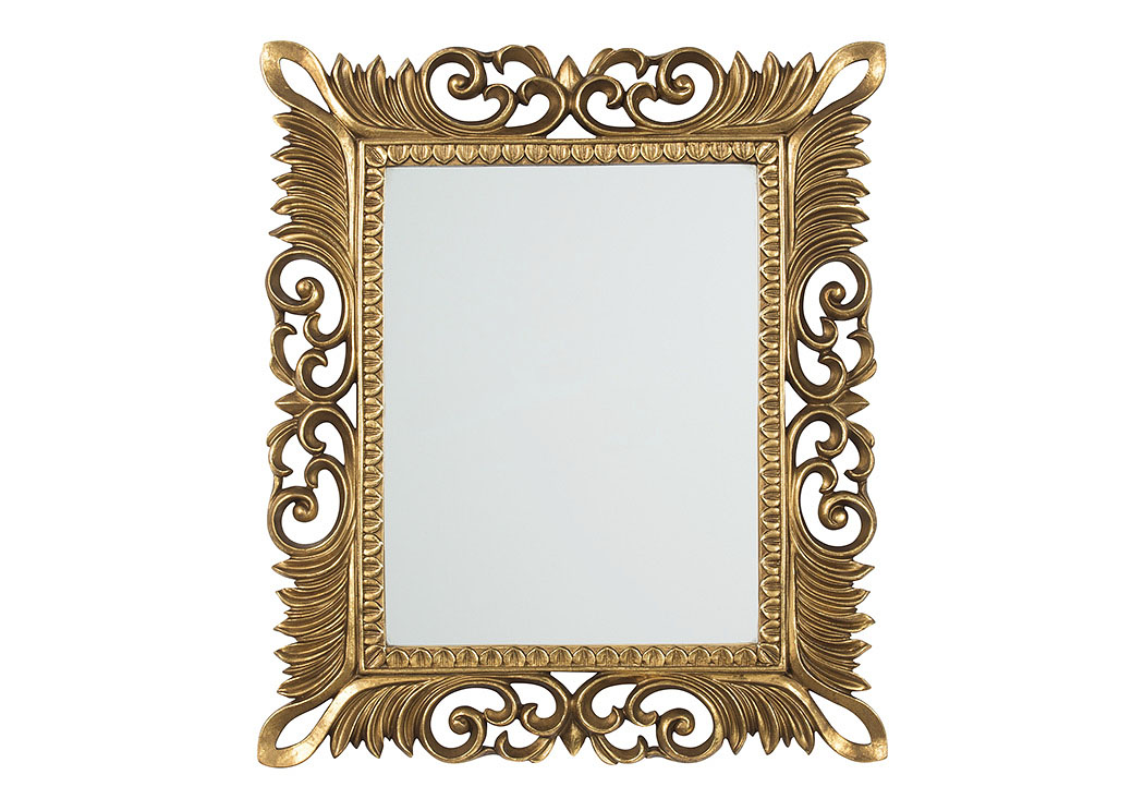 Denisha Antique Gold Finish Accent Mirror,Signature Design By Ashley
