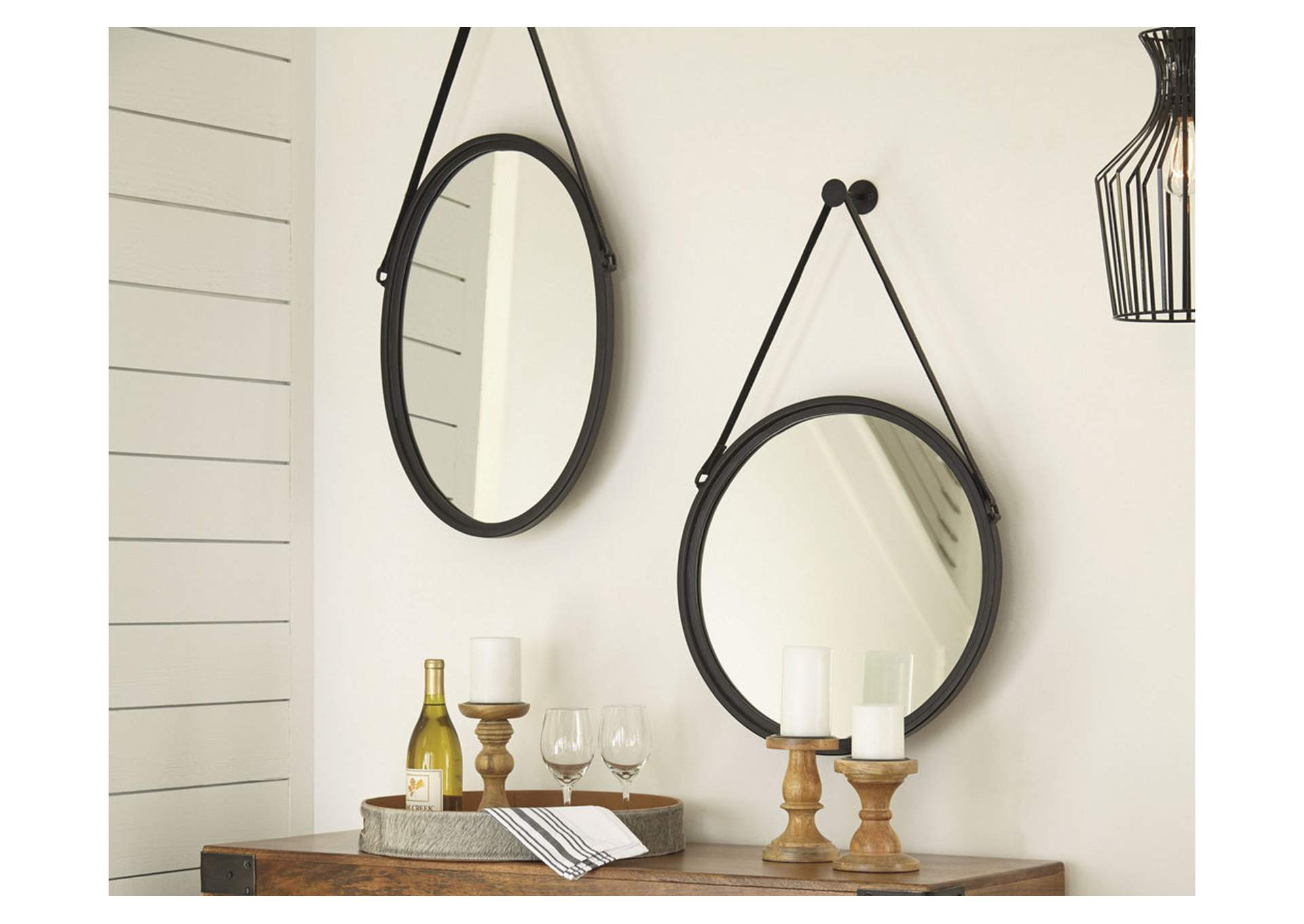 Dusan Black Round Accent Mirror,Signature Design By Ashley
