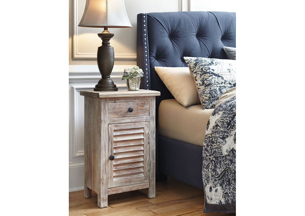 Charlowe White Wash Door Nightstand,Signature Design By Ashley
