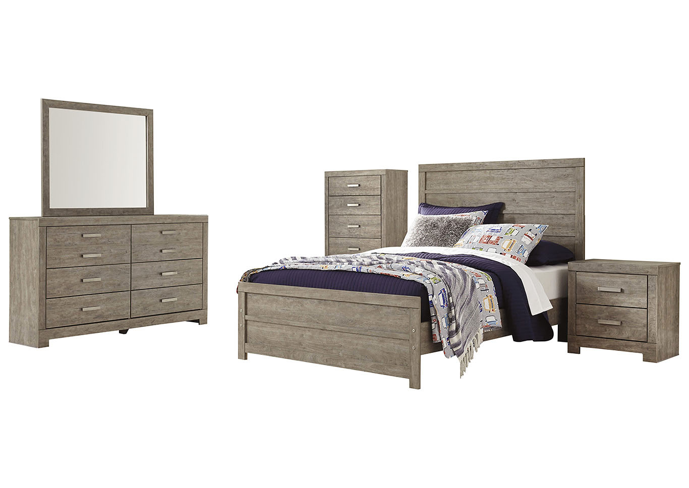 Culverbach Gray Full Panel Bed and Dresser w/Mirror,Signature Design By Ashley