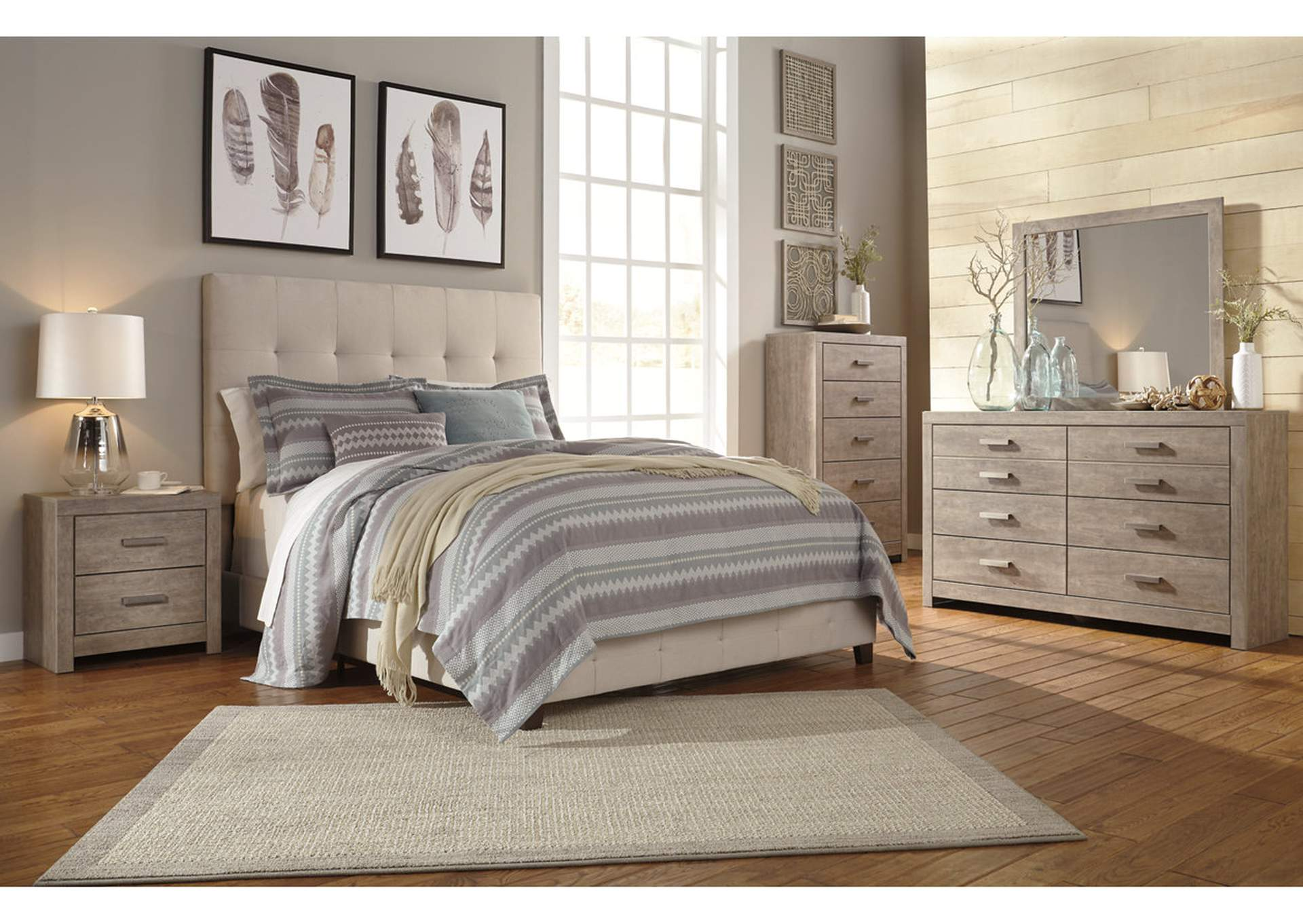 Dolante Beige Queen Upholstered Platform Bed,Signature Design By Ashley