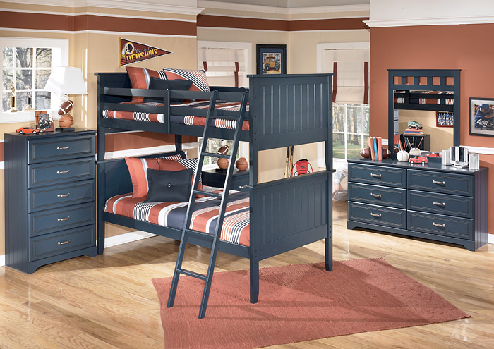 Leo Twin/Twin Bunk Bed, Dresser & Mirror,Signature Design By Ashley