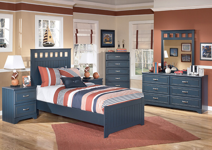 Leo Twin Panel Bed w/Dresser, Mirror, Drawer Chest & Nightstand,Signature Design By Ashley
