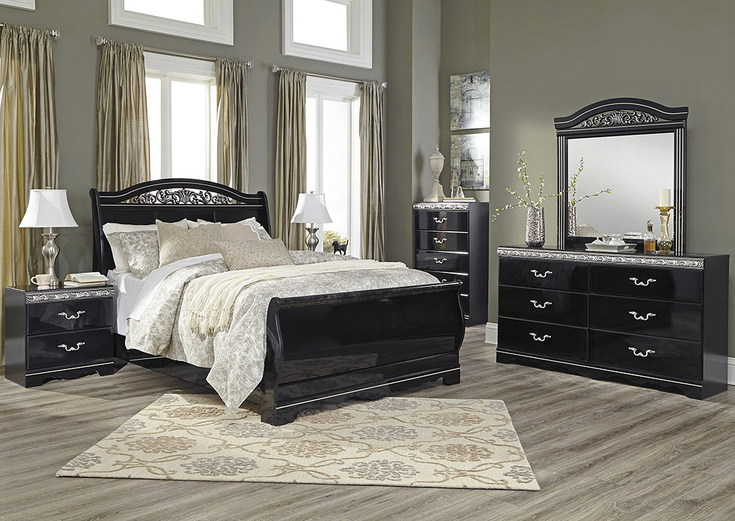 Constellations Black Queen Sleigh Bed w/Dresser, Mirror, Drawer Chest & Nightstand,Signature Design By Ashley