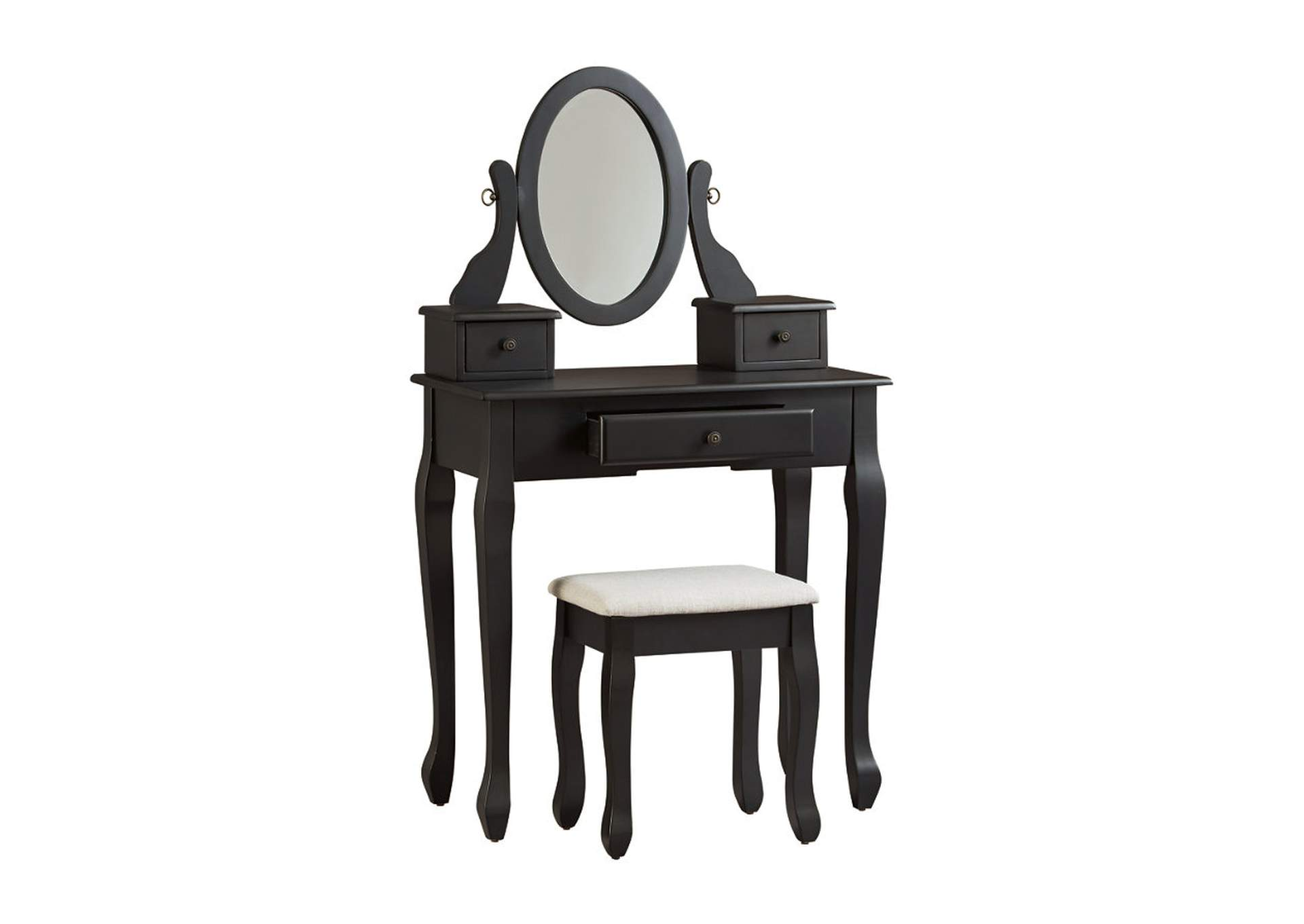 Huey Vineyard Black Vanity w/Mirror & Stool,Signature Design By Ashley