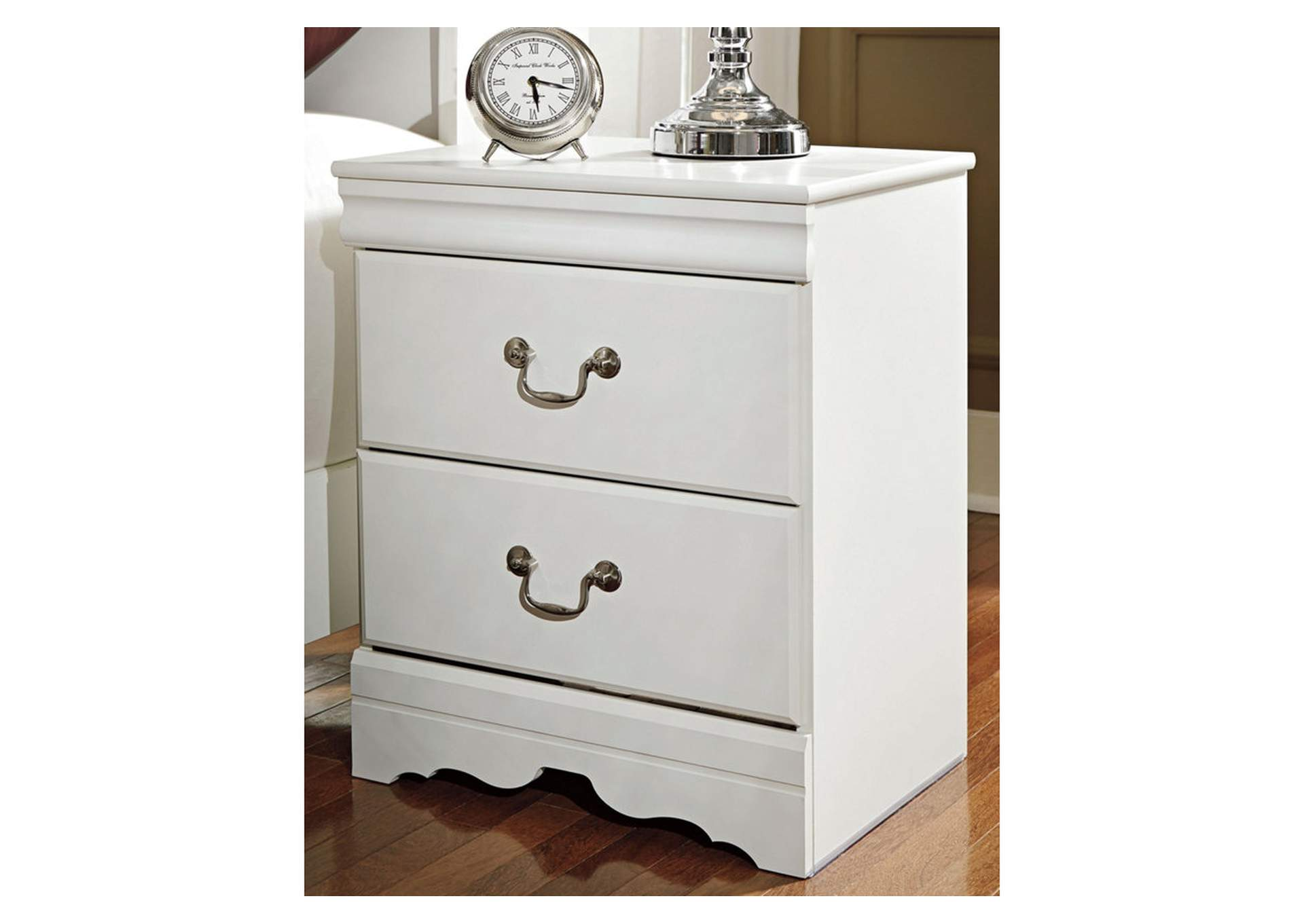 Anarasia White Two Drawer Night Stand,Signature Design By Ashley