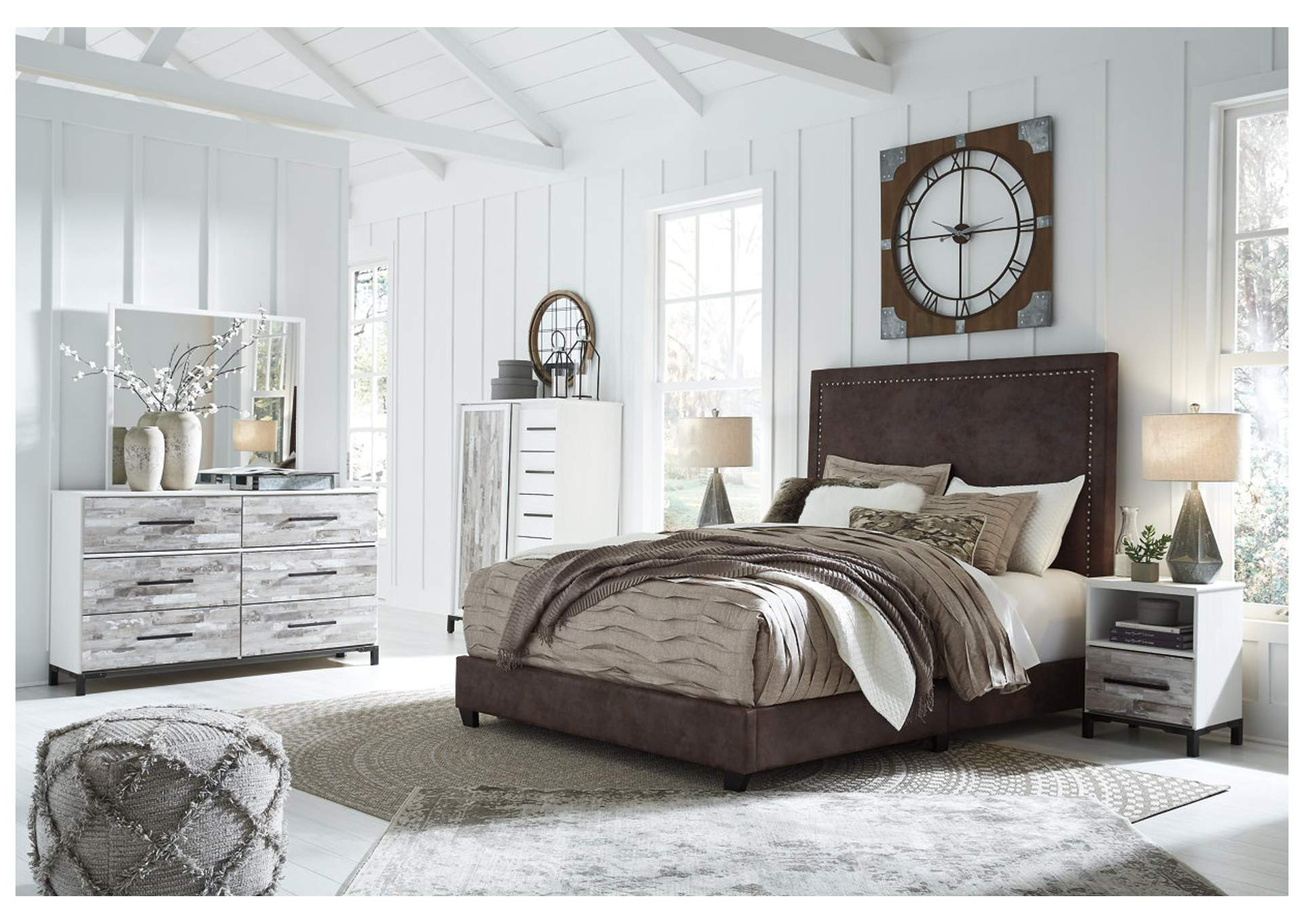 Dolante Brown King Upholstered Bed,Signature Design By Ashley