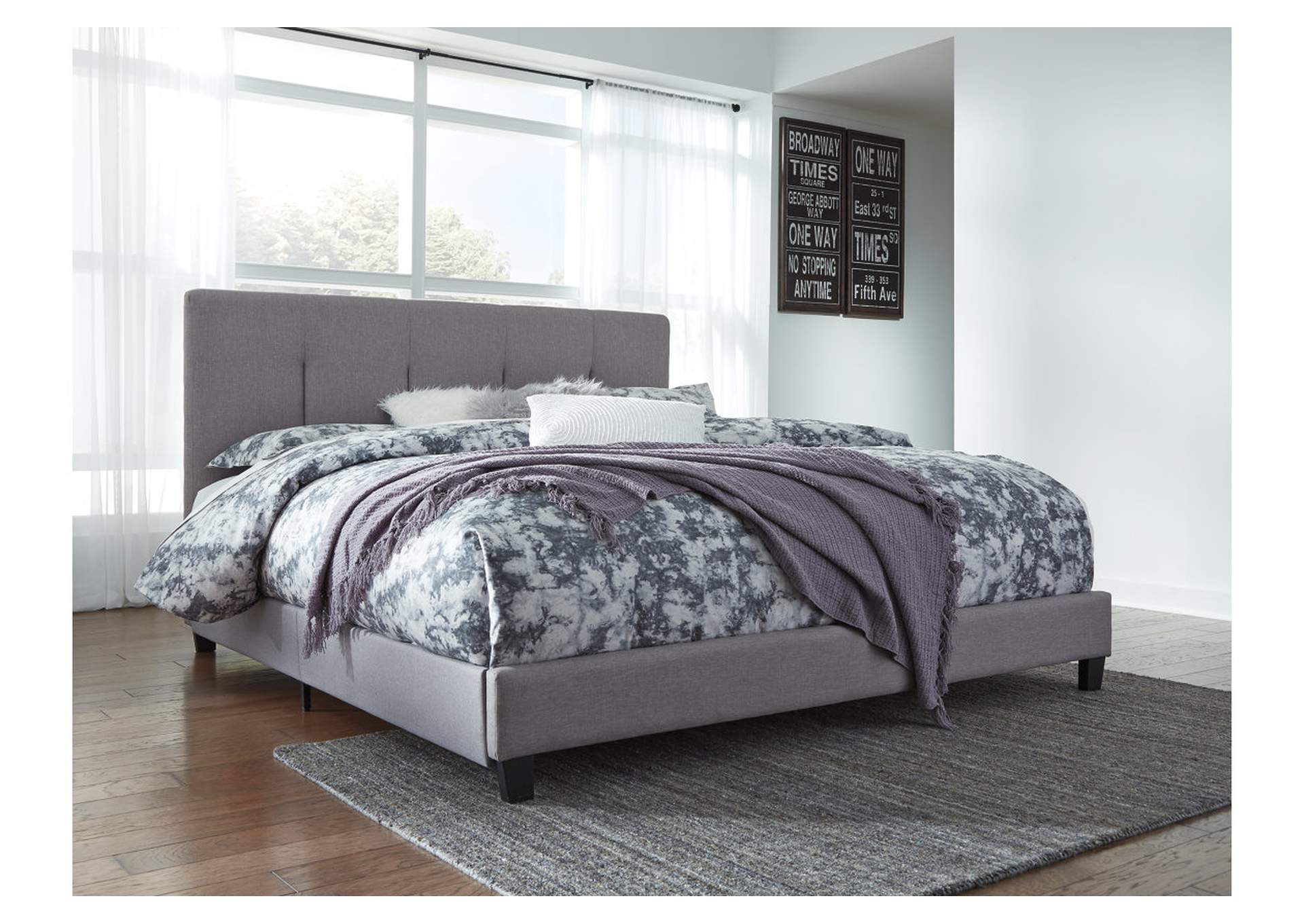 Dolante Gray King Upholstered Bed,Signature Design By Ashley