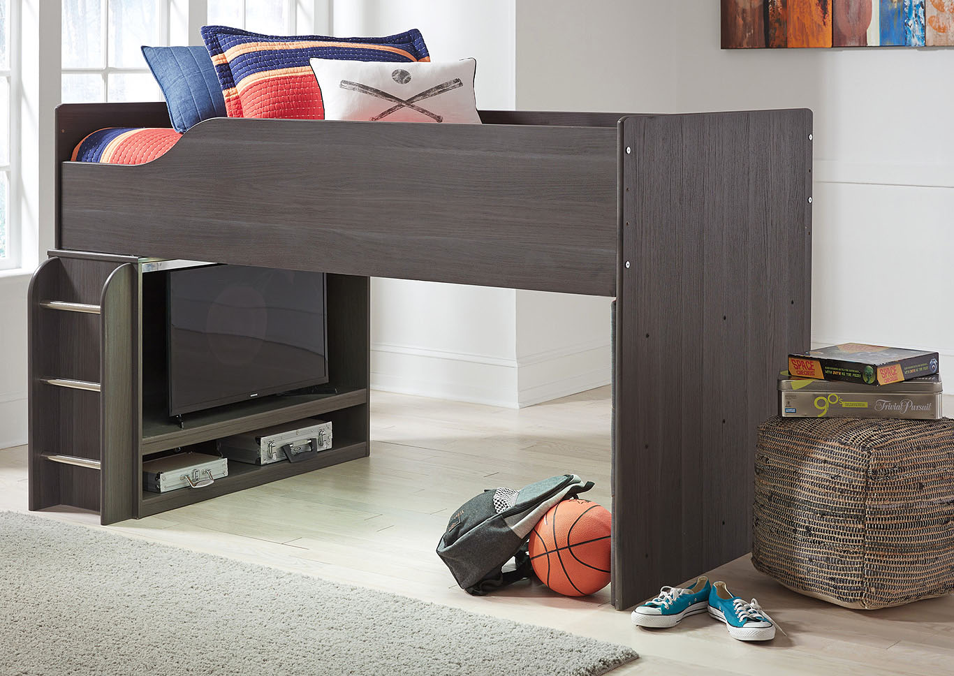 Annikus Gray Twin Loft Bed,Signature Design By Ashley