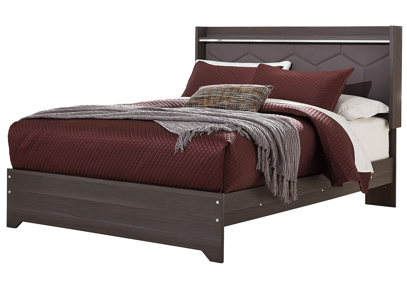 Annikus Gray Queen Upholstered Panel Bed,Signature Design By Ashley