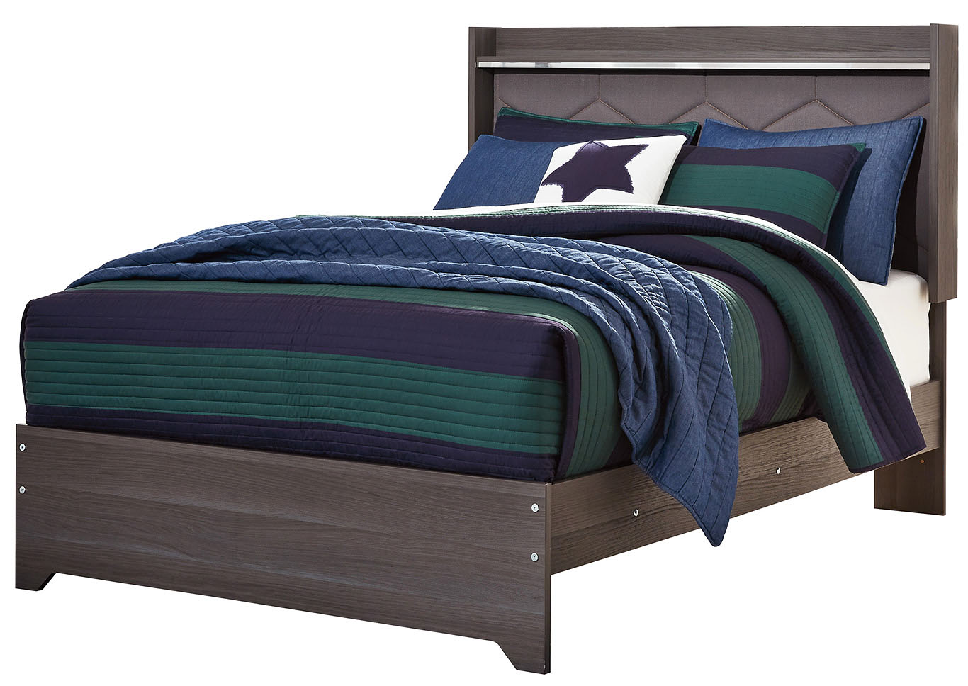 Annikus Gray Twin Upholstered Panel Bed,Signature Design By Ashley