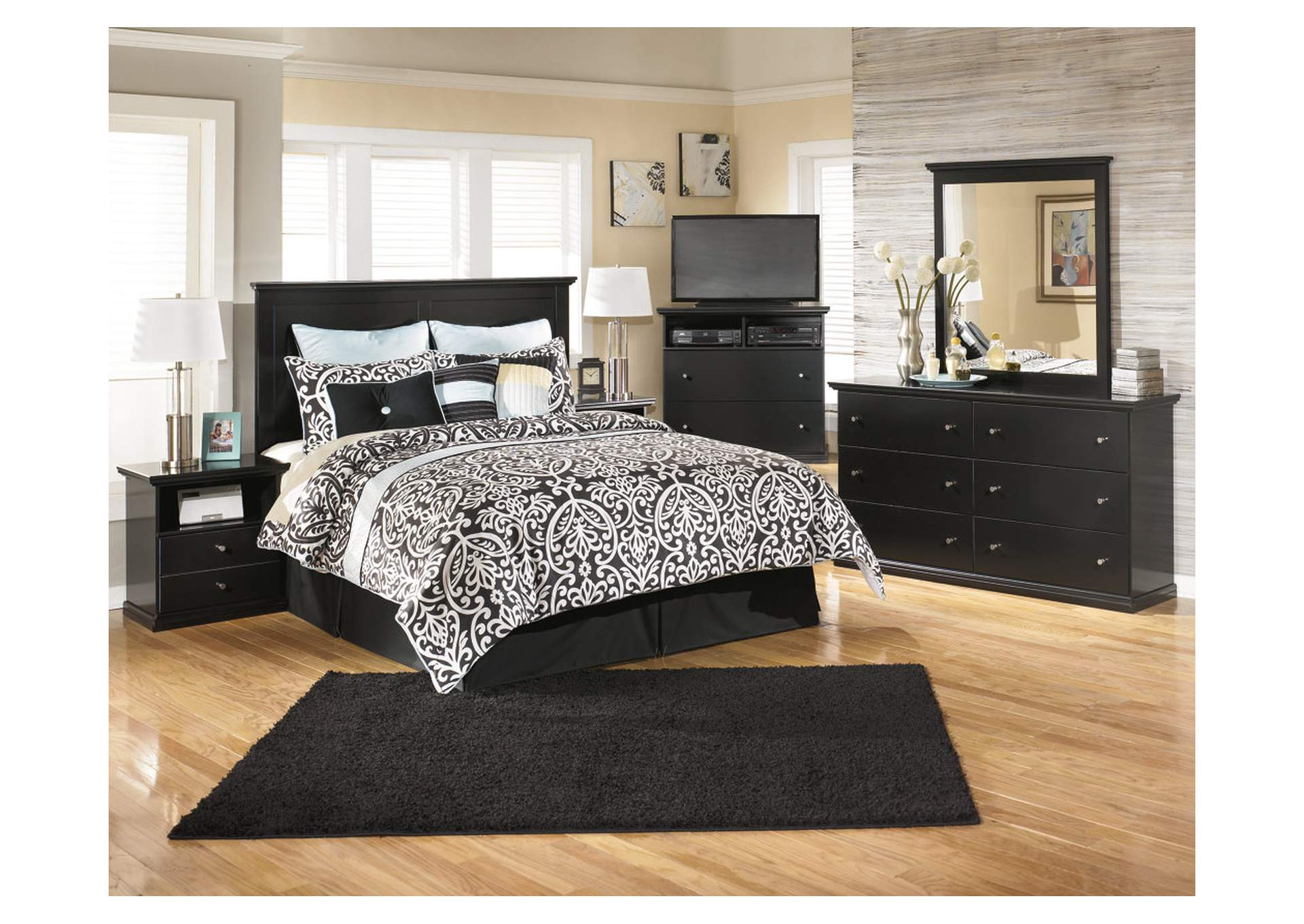 Maribel Black Queen/Full Panel Headboard w/Dresser, Mirror, Drawer Chest & Nightstand,Signature Design By Ashley