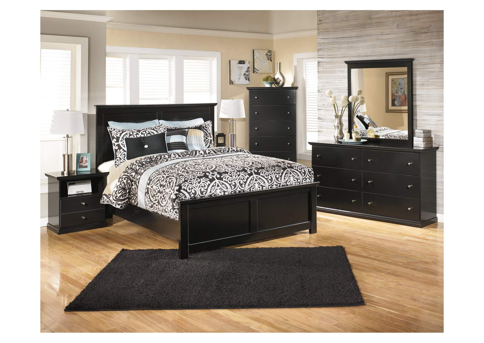 Maribel Black Queen Panel Bed w/Dresser, Mirror & Drawer Chest,Signature Design By Ashley