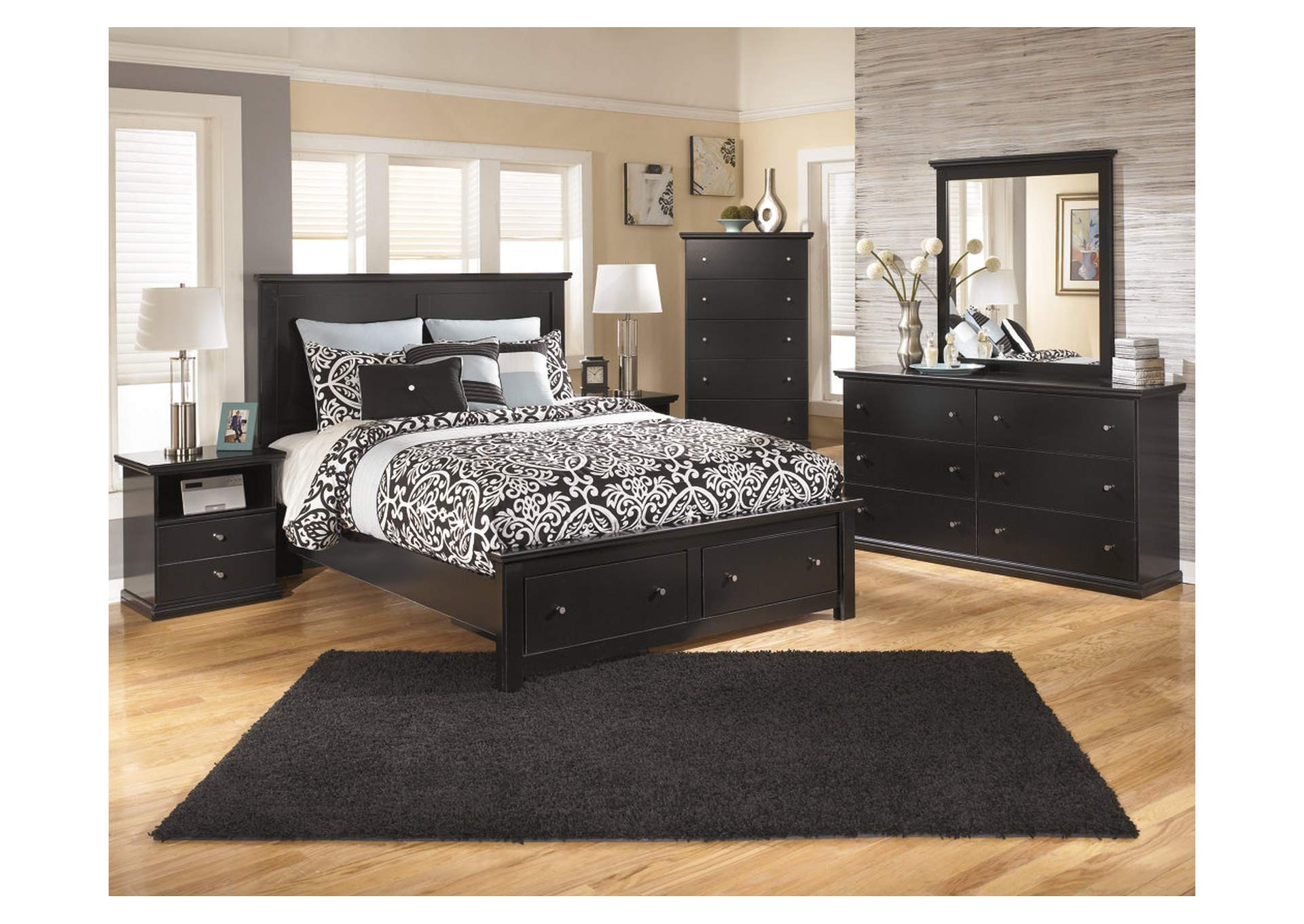 Maribel Black Queen Storage Platform Bed w/Dresser, Mirror, Drawer Chest & Nightstand,Signature Design By Ashley