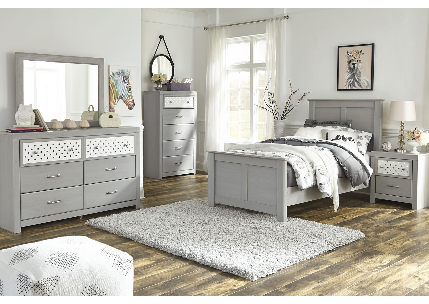 Arcella Gray Twin Panel Bed w/Dresser and Mirror,Signature Design By Ashley