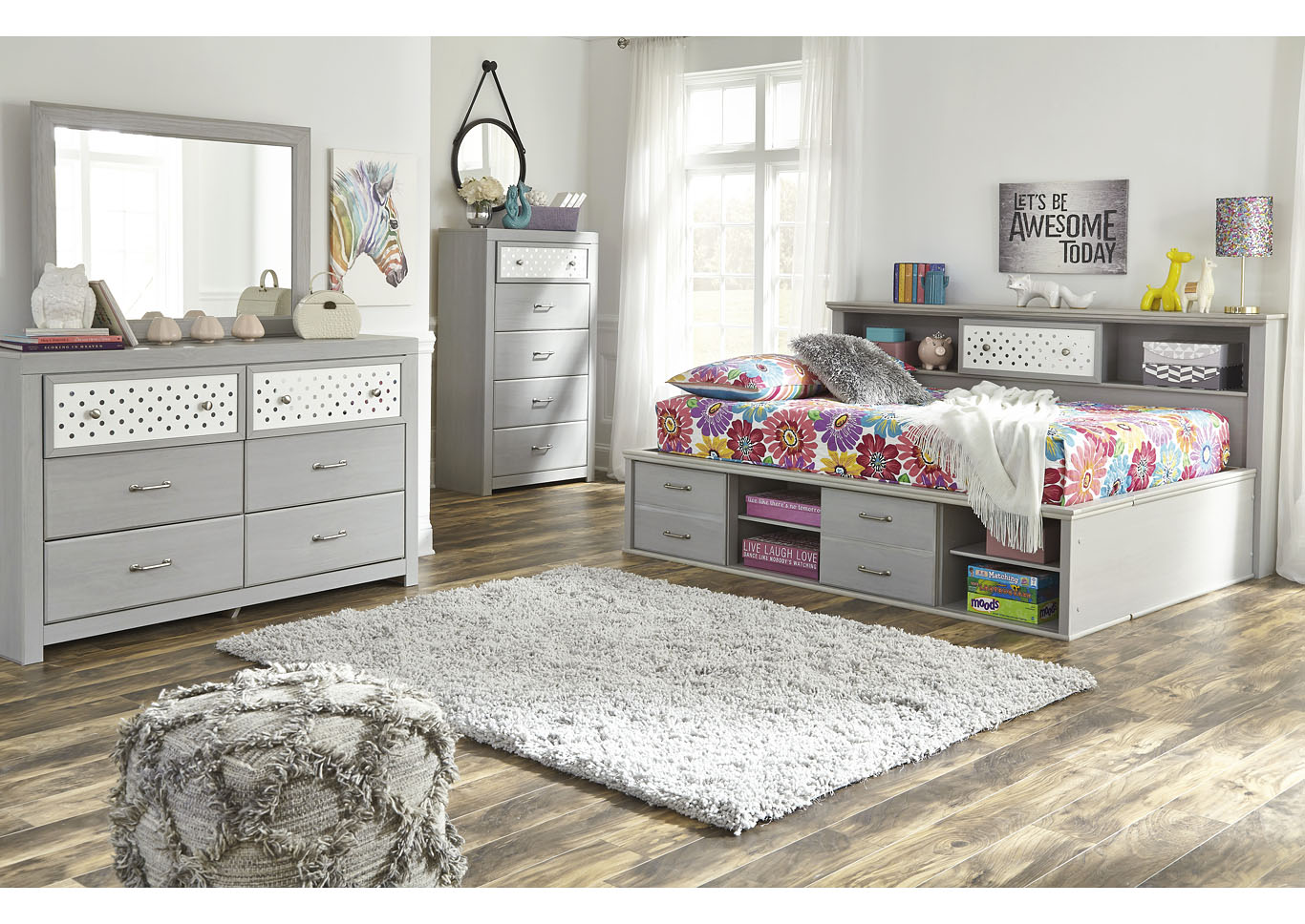 Arcella Gray Bookcase Full Bed,Signature Design By Ashley