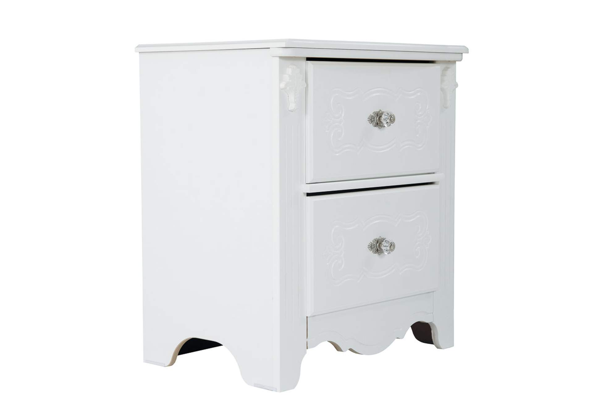 Exquisite Two Drawer Nightstand,48 Hour Quick Ship