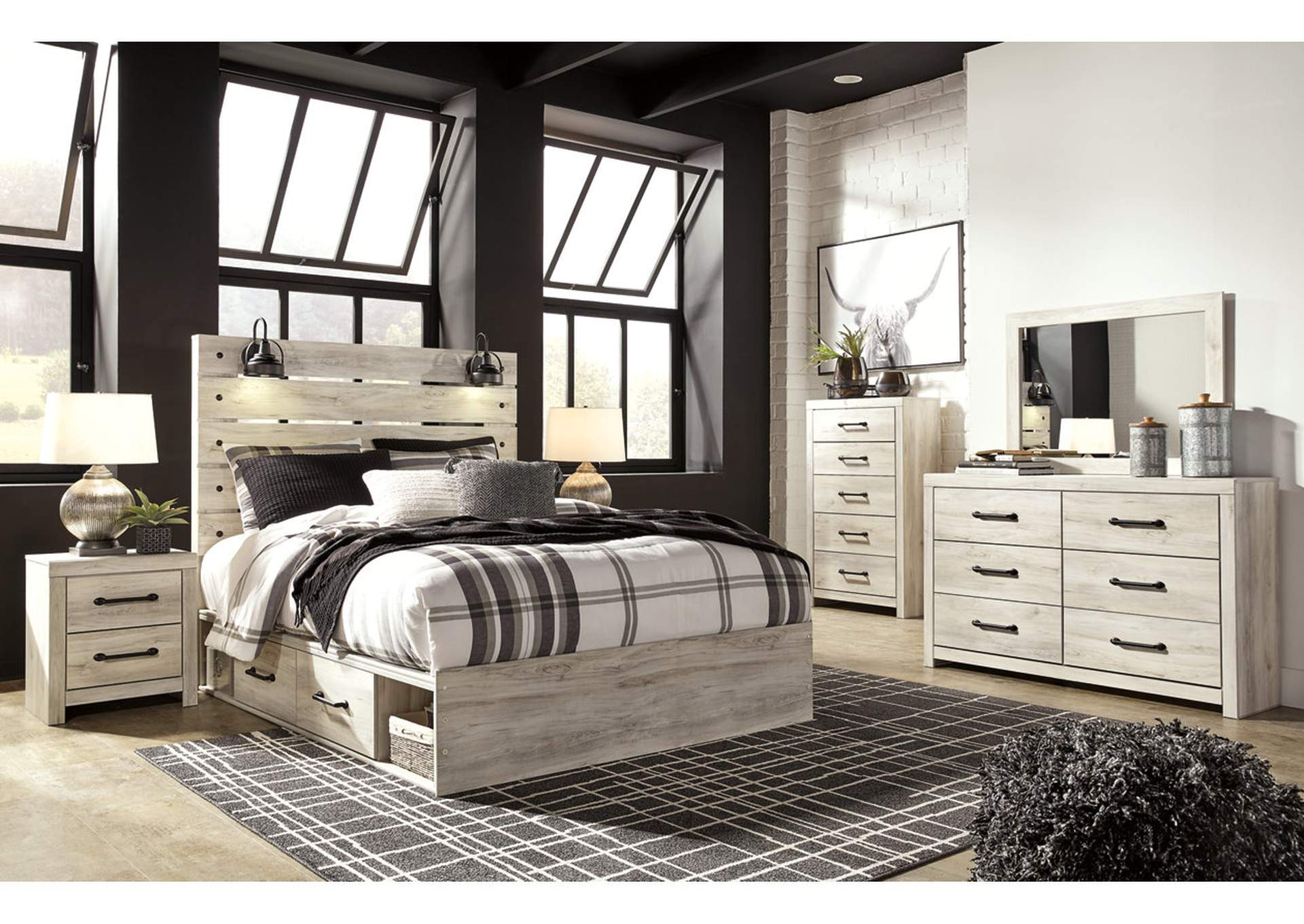 Cambeck Queen Panel Bed with 4 Side Storage Drawers, Dresser and Mirror,Signature Design By Ashley