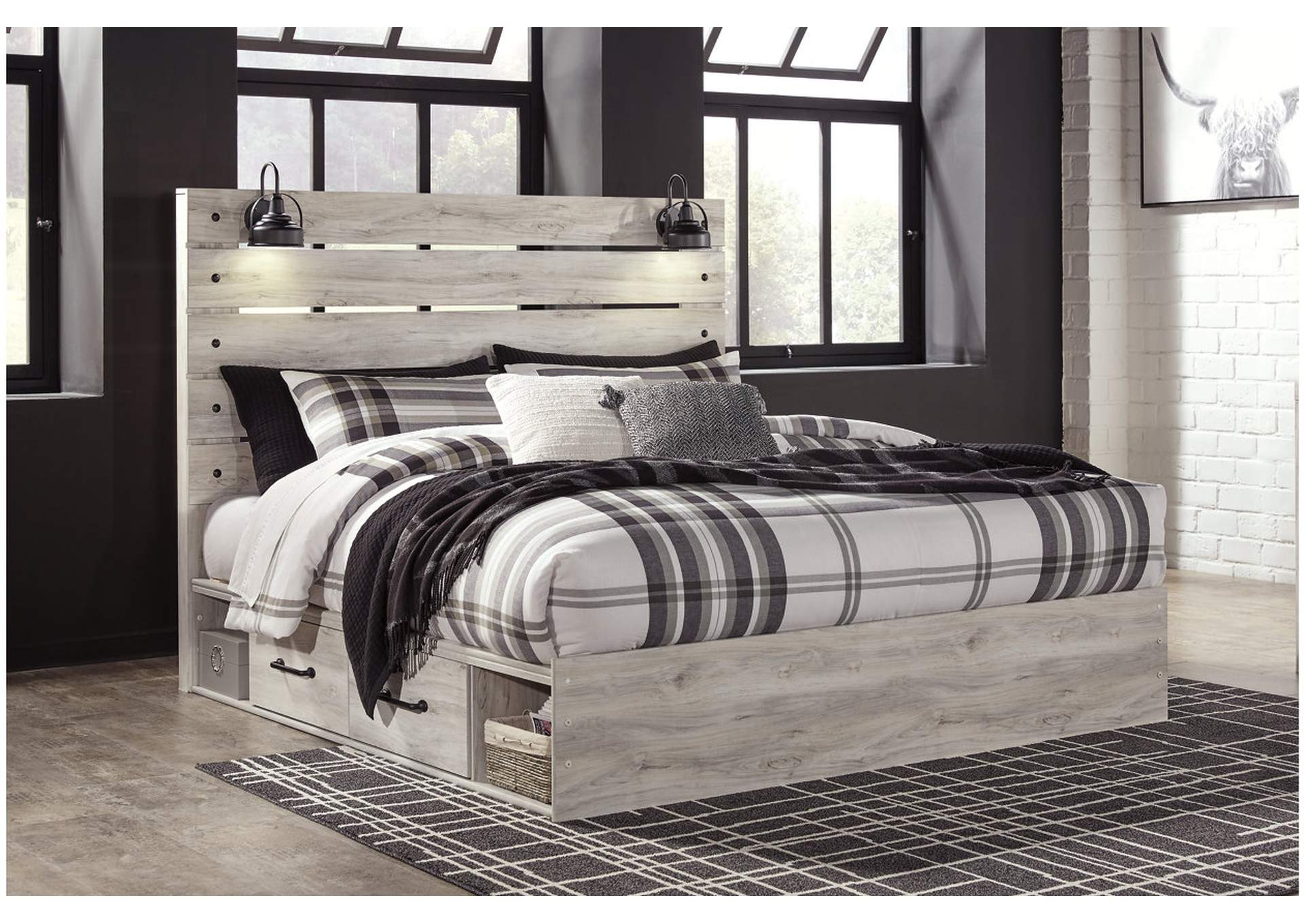 Cambeck King Panel Bed with 4 Underbed Storage Drawers,Signature Design By Ashley