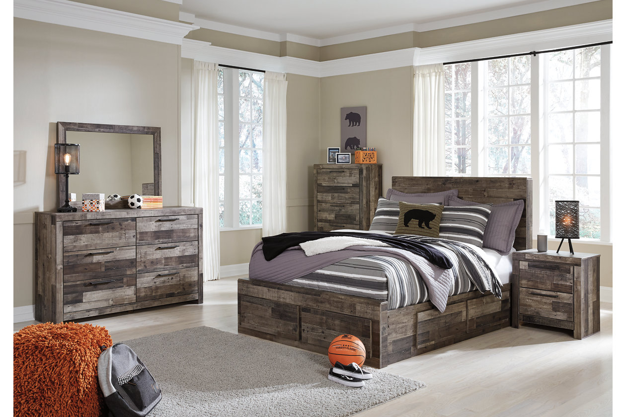Derekson Multi Gray Full Storage Bed W/Dresser U0026 Mirror,Signature Design By  Ashley