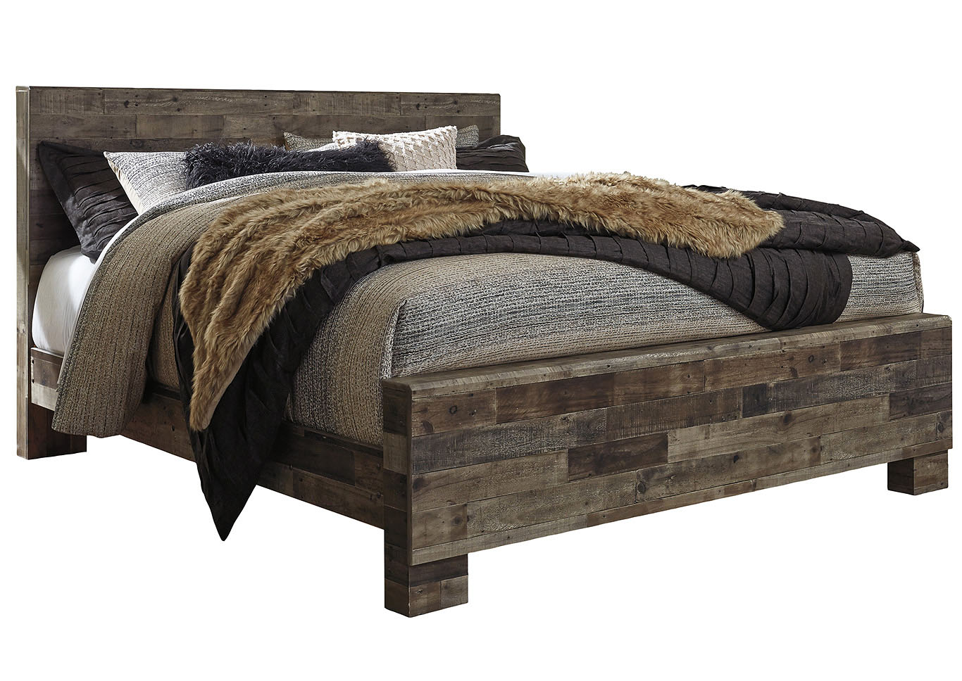 Derekson Multi Gray King Panel Bed,Benchcraft