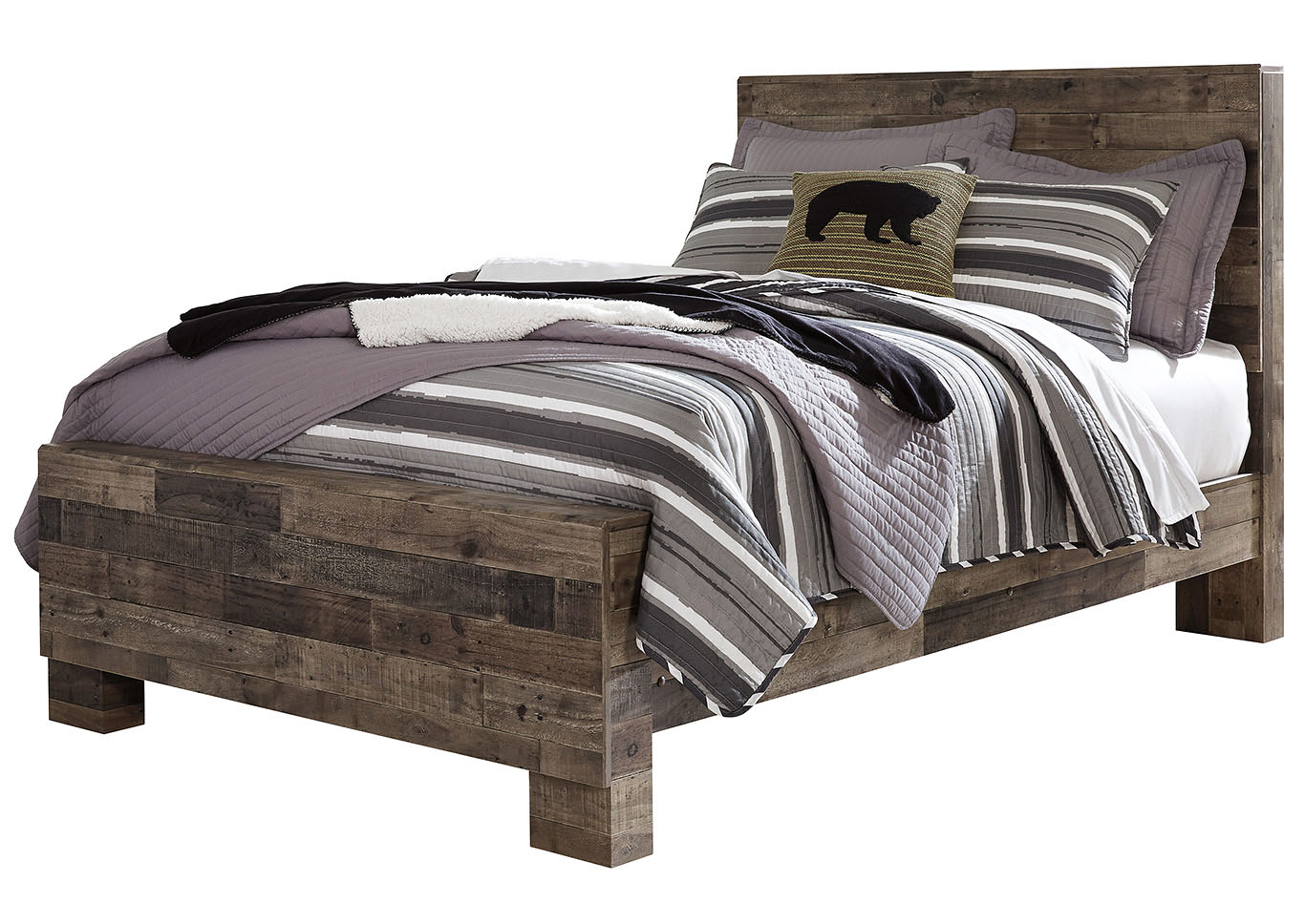 Derekson Multi Gray Full Panel Bed,Benchcraft