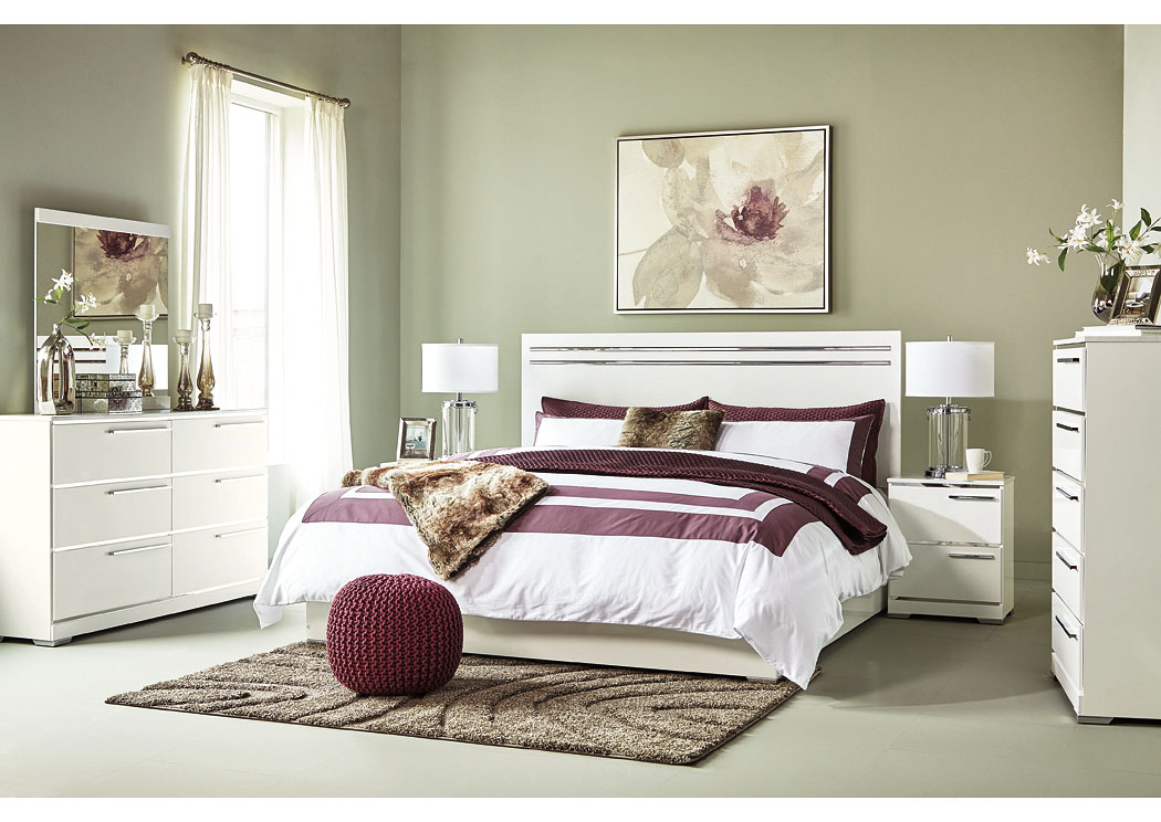 Bay Star Consignments And Home Brillaney White King Panel Bed W