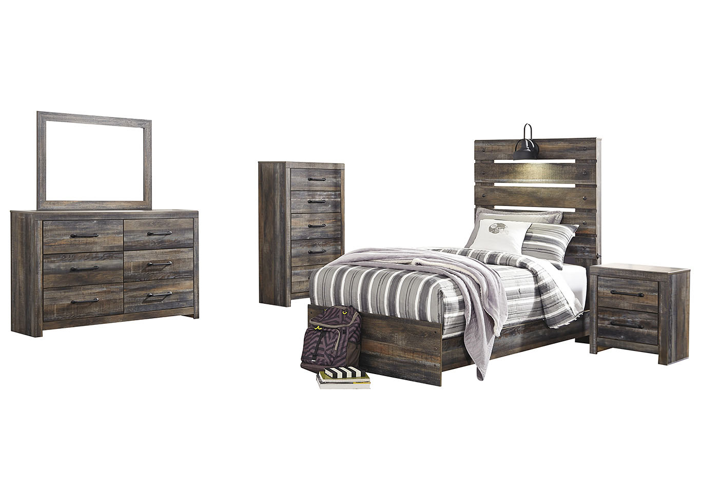 Drystan Twin Panel Bed w/Dresser & Mirror,Signature Design By Ashley