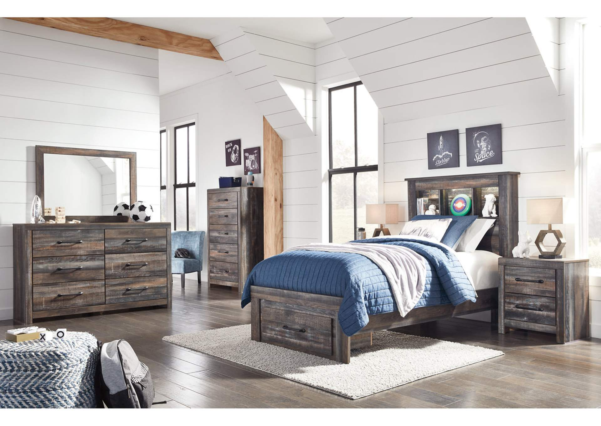 Drystan Bookcase Twin Storage Bed w/Dresser and Mirror,Signature Design By Ashley
