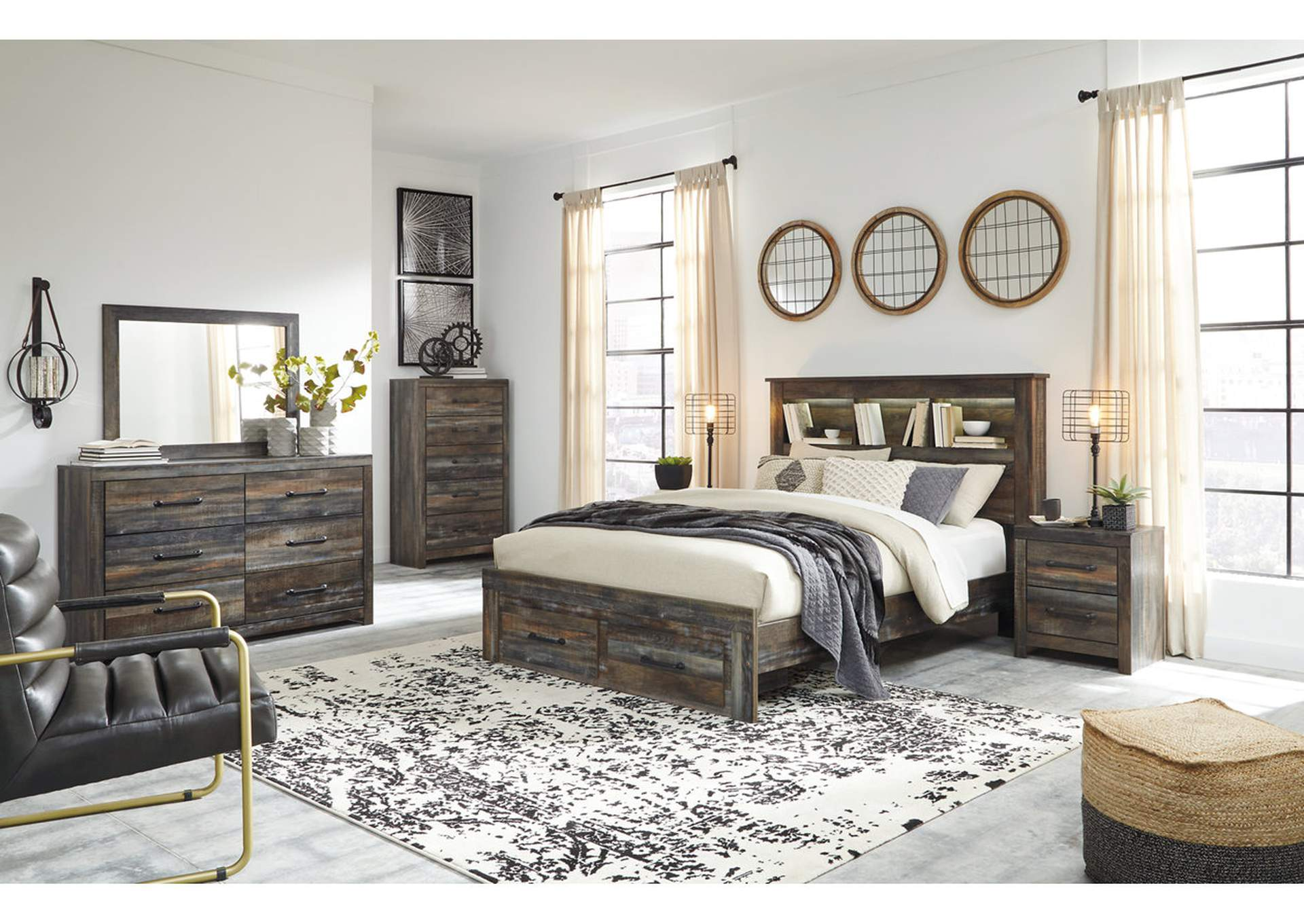 Drystan Bookcase Queen Storage Bed w/Dresser and Mirror,Signature Design By Ashley