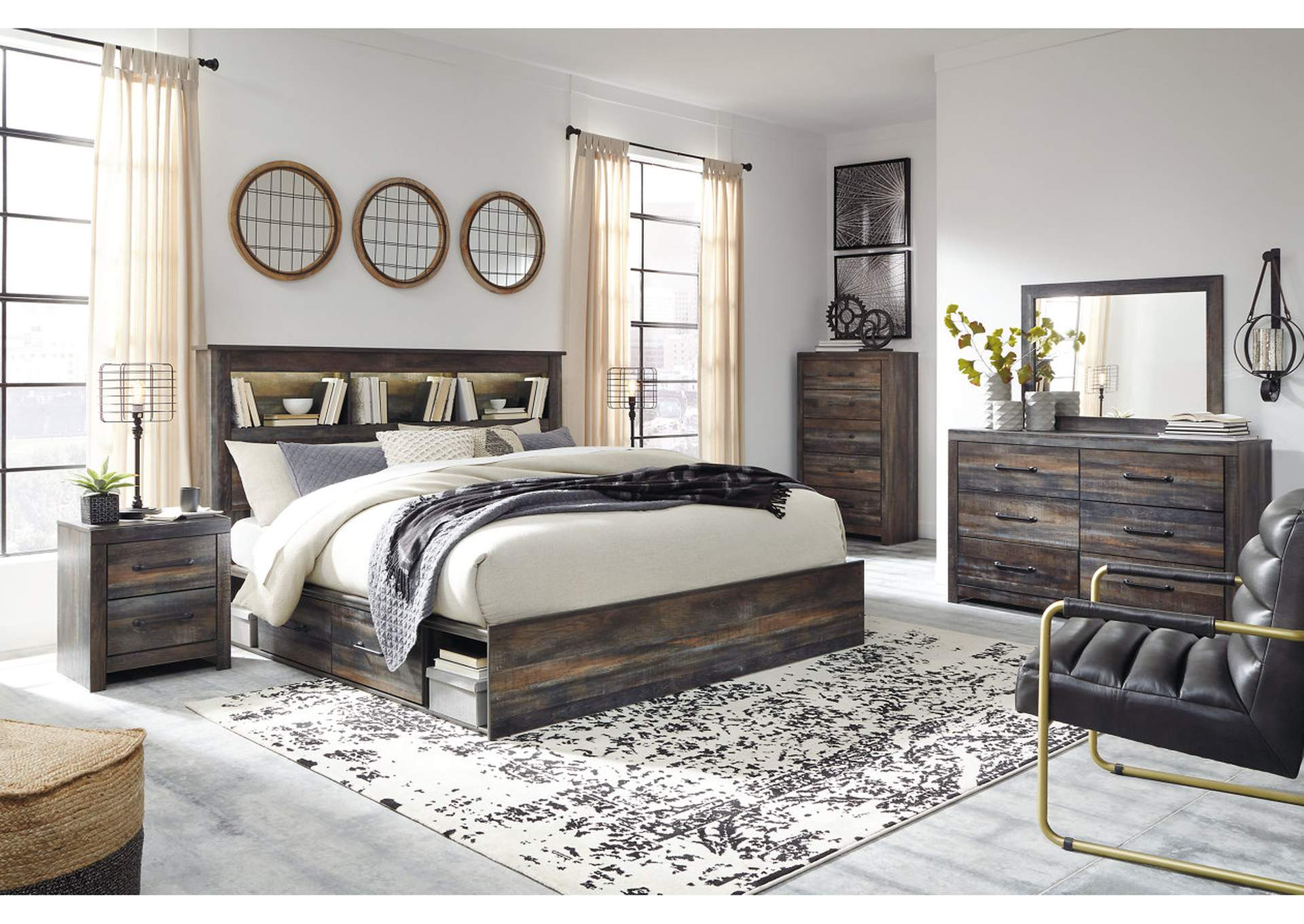 Drystan Bookcase King Side Storage Bed w/Dresser and Mirror,Signature Design By Ashley