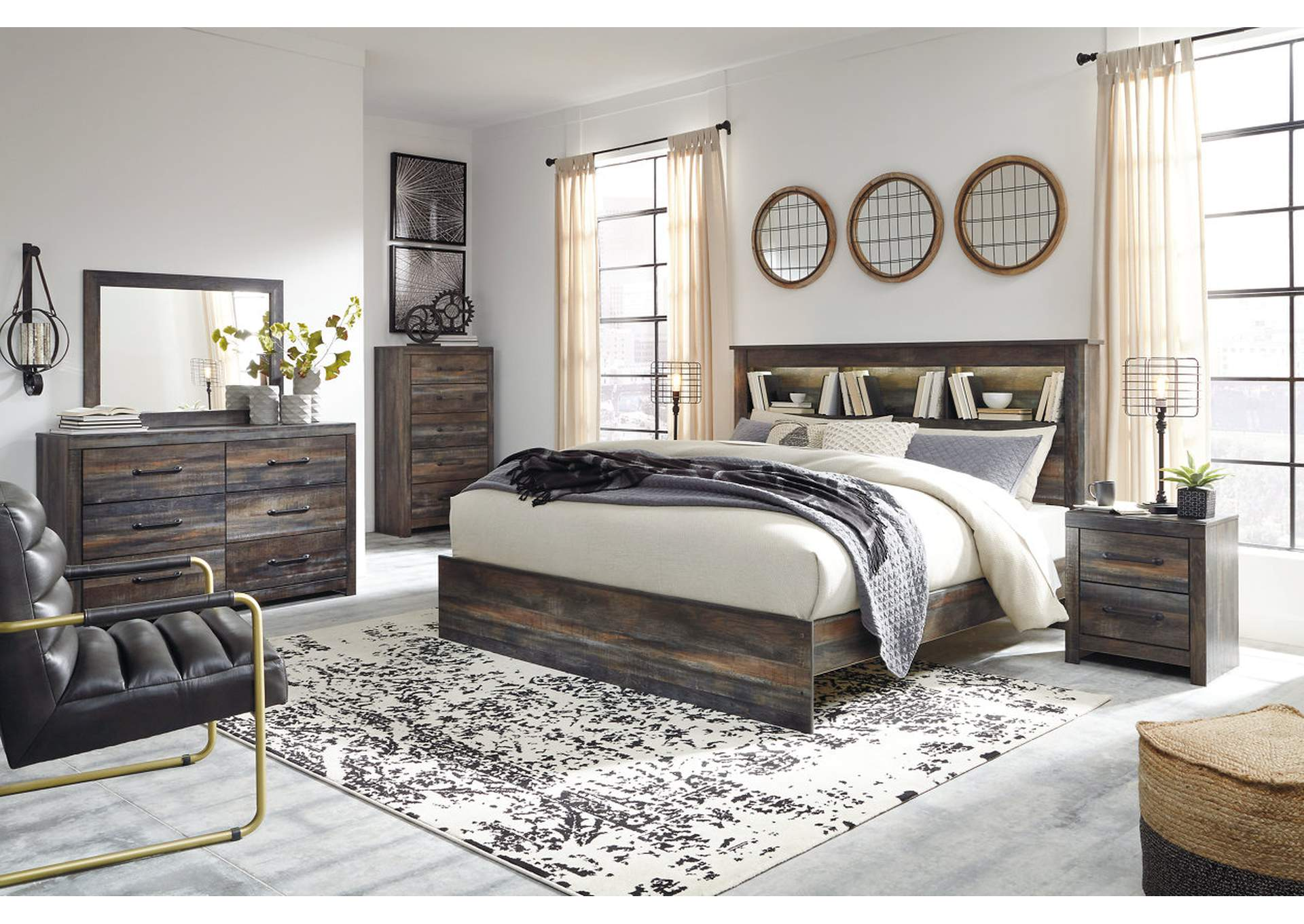 Drystan Bookcase King Bed w/Dresser and Mirror,Signature Design By Ashley