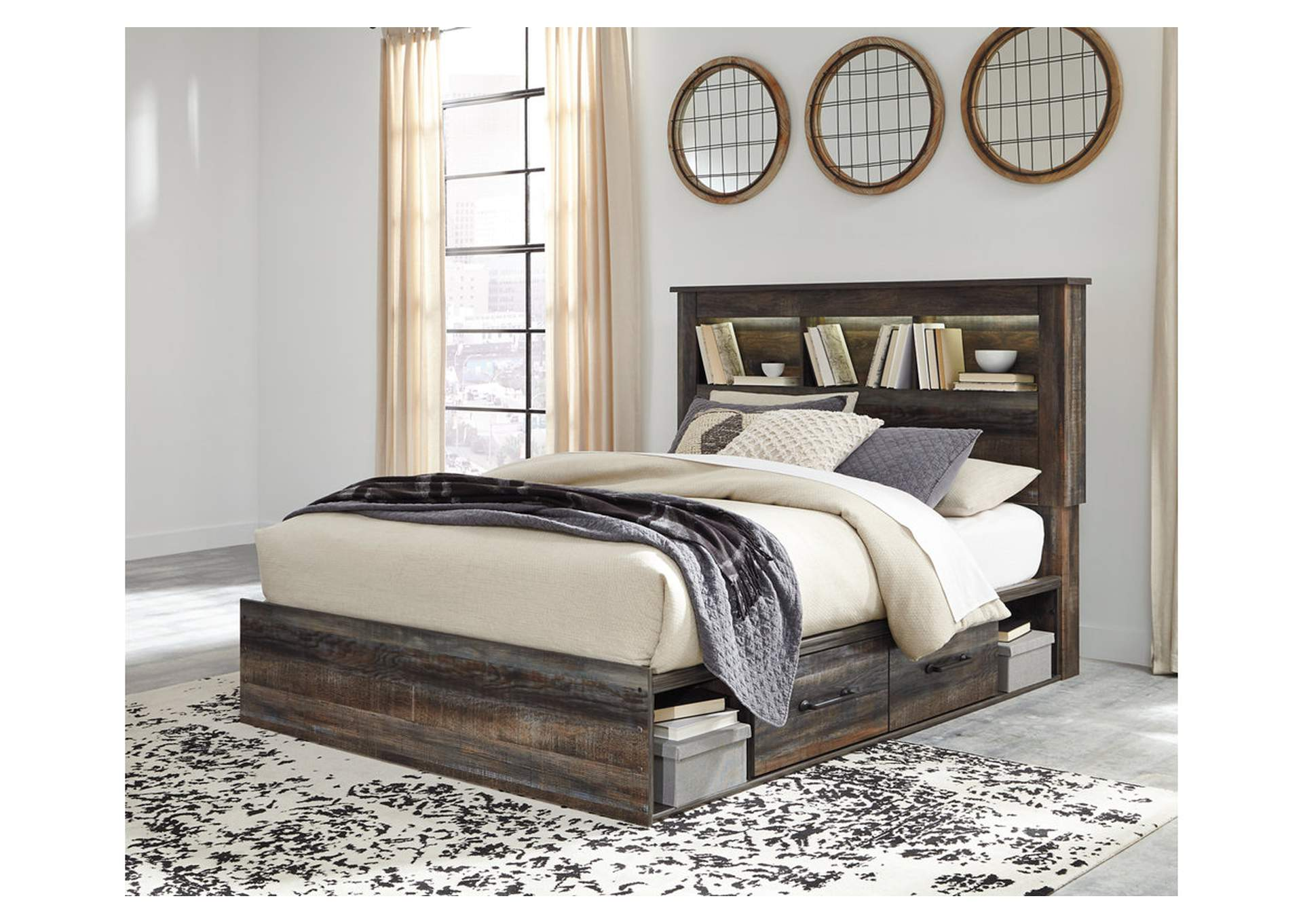 Drystan Bookcase Queen Side Storage Bed,Signature Design By Ashley