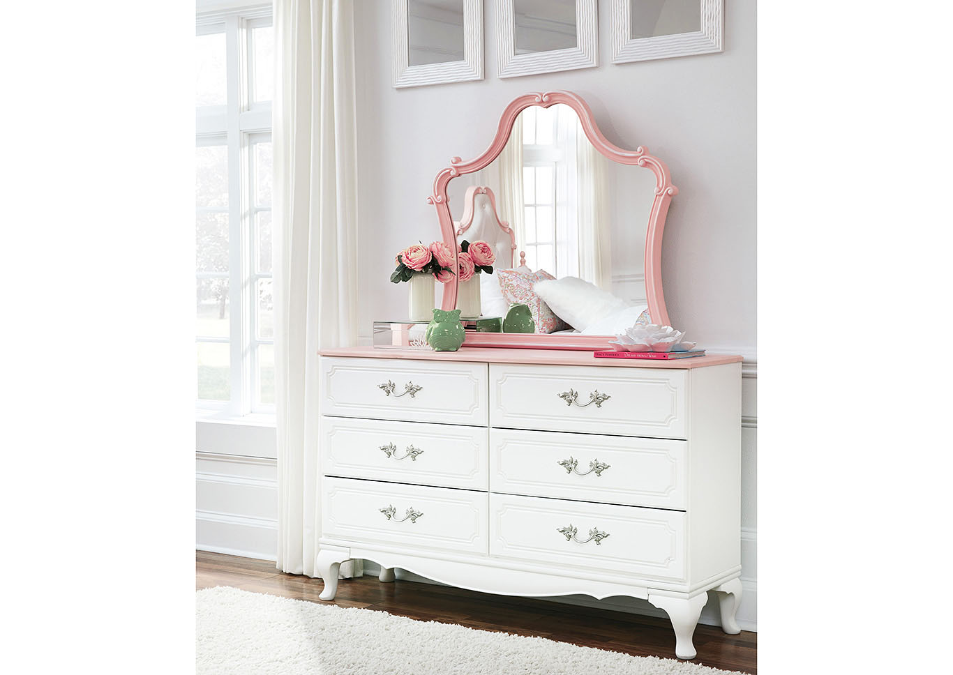 Laddi White/Pink Dresser w/Mirror,Signature Design By Ashley